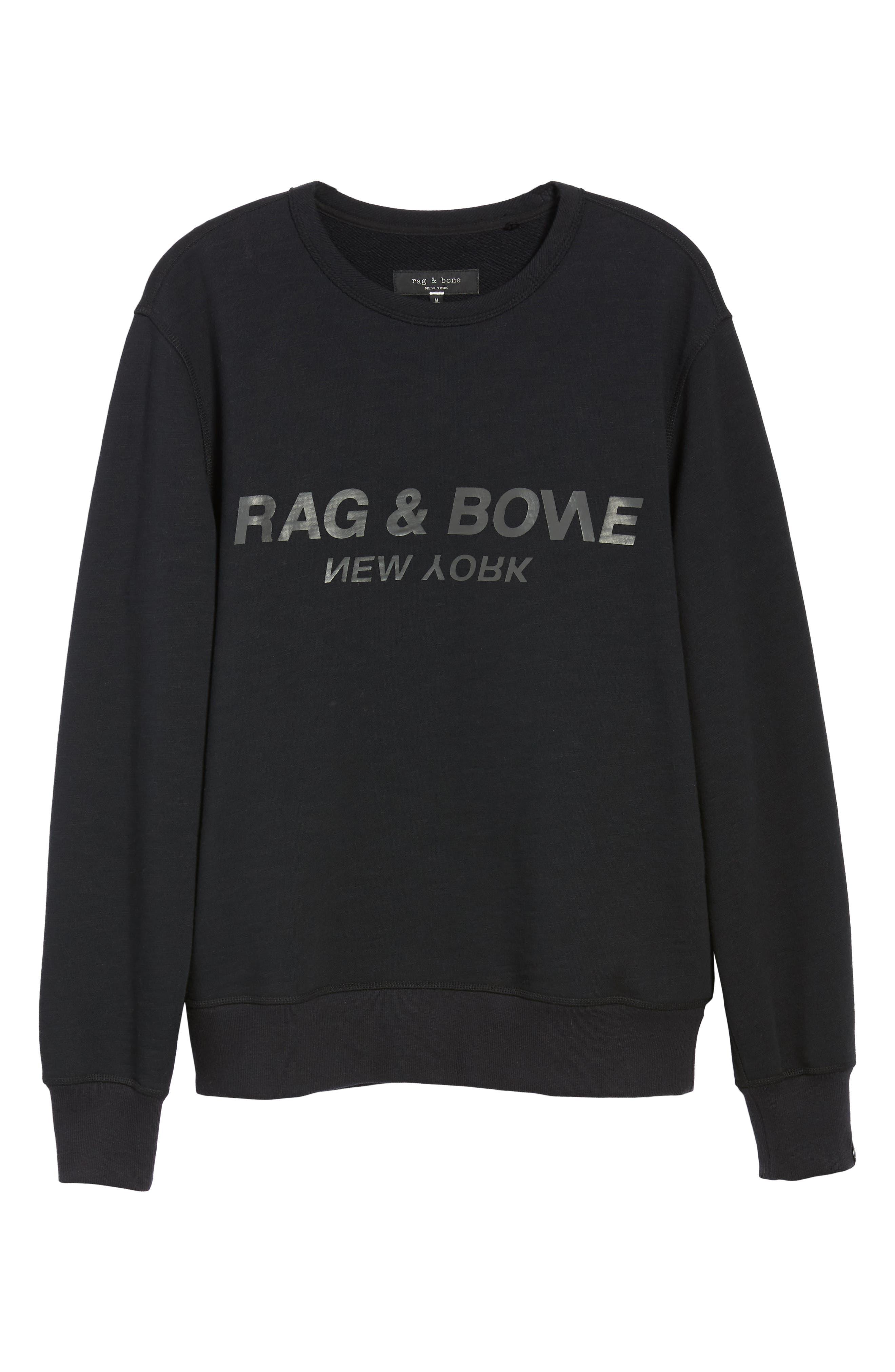 RAG & BONE, Regular Upside Down Sweatshirt, Alternate thumbnail 6, color, 001