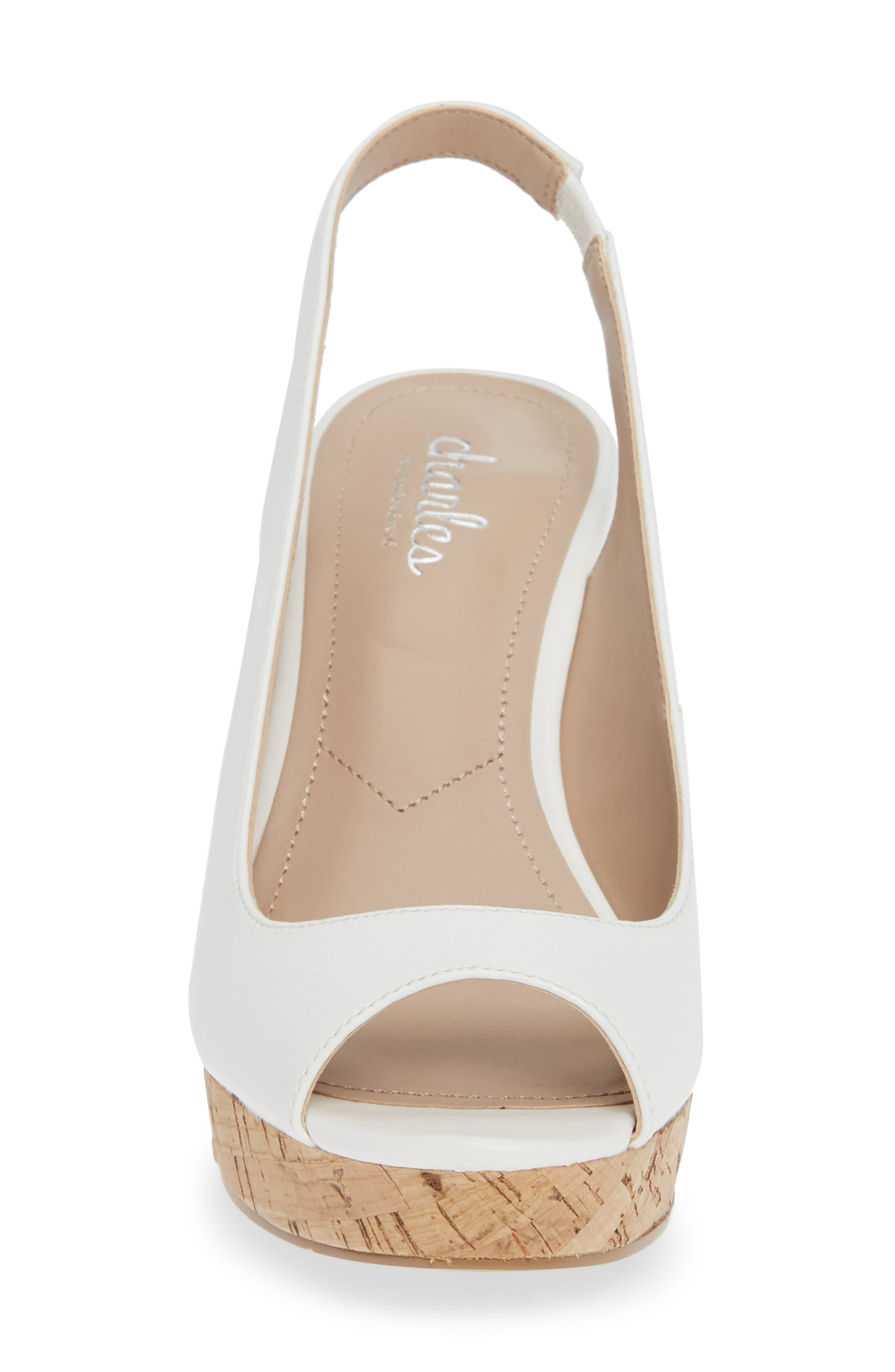 CHARLES BY CHARLES DAVID, Leandra Slingback Wedge, Alternate thumbnail 4, color, 100