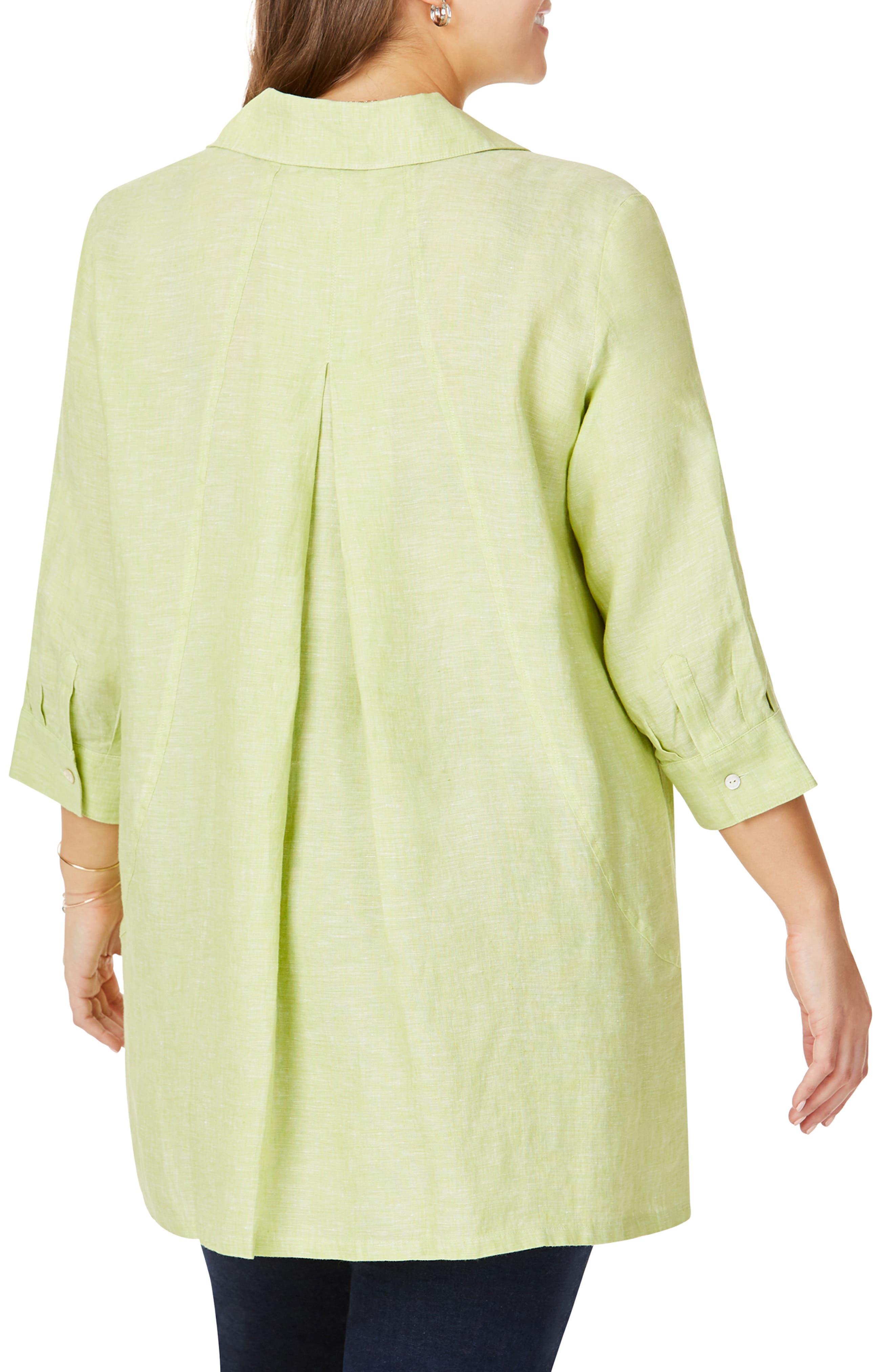 FOXCROFT, Chambray Linen Tunic Shirt, Alternate thumbnail 2, color, MARGARITA