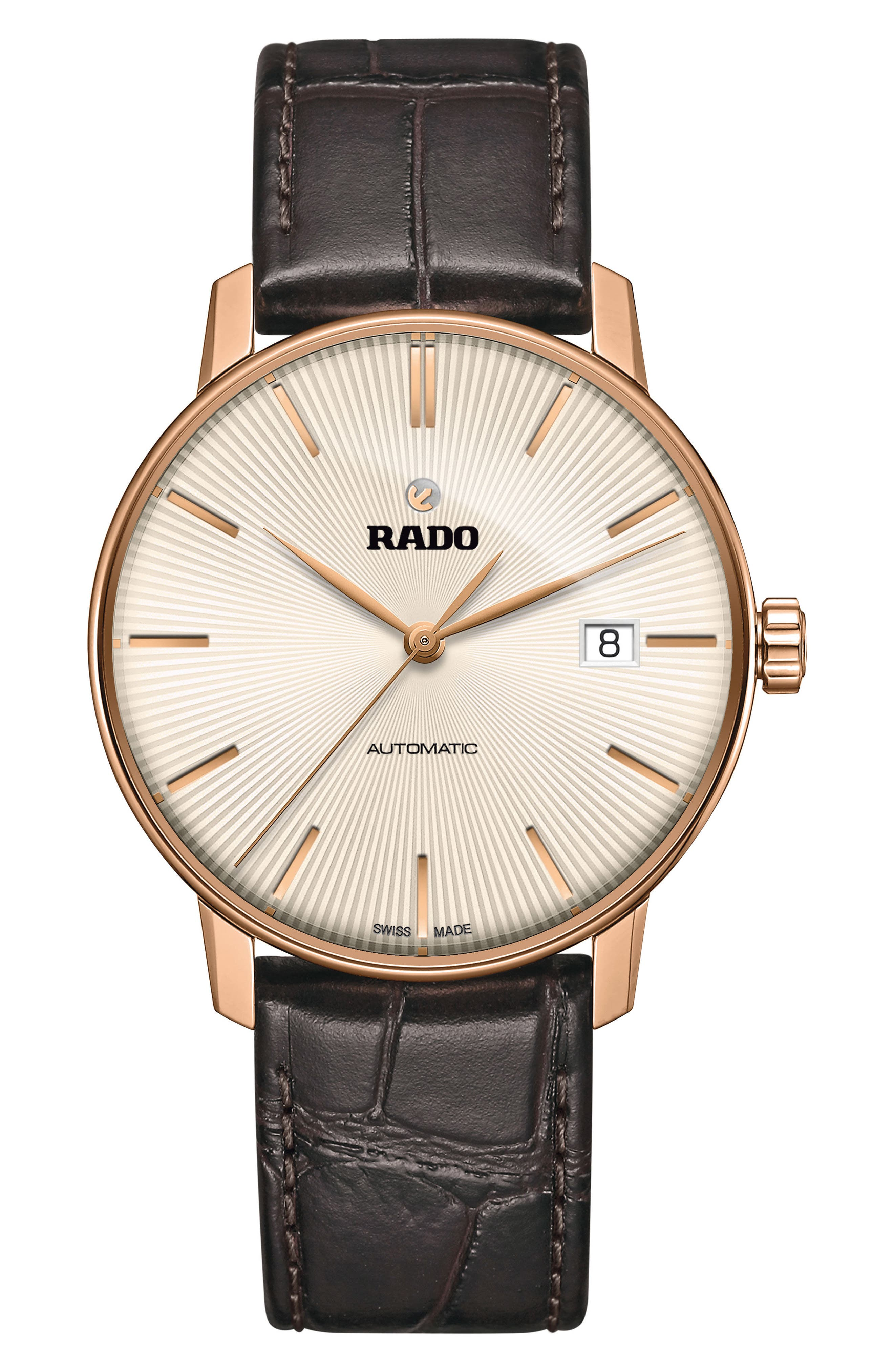RADO Coupole Classic Automatic Leather Strap Watch, 38mm, Main, color, GREY/ BROWN/ GUNMETAL
