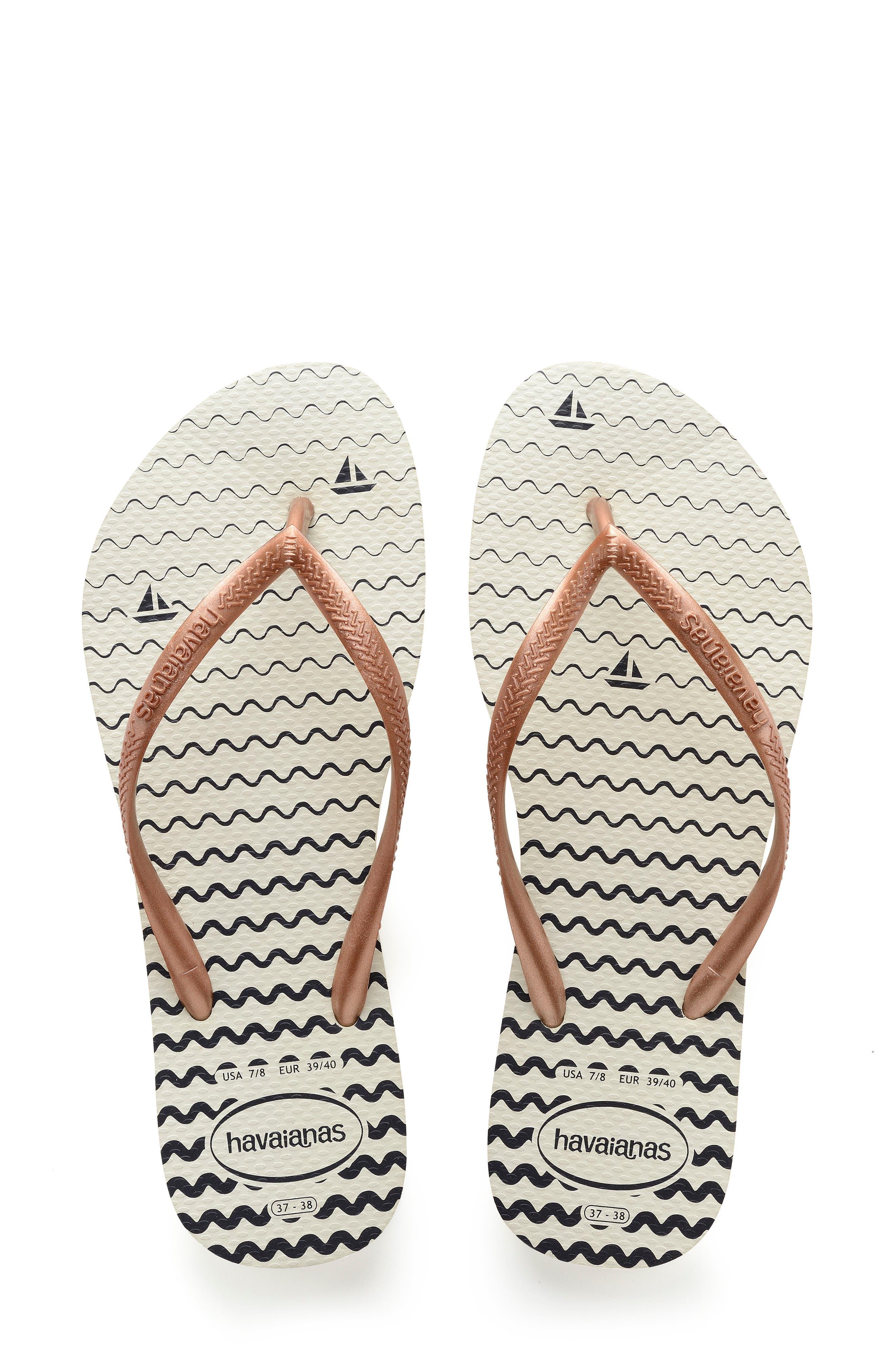 HAVAIANAS Slim Oceano Flip Flop, Main, color, WHITE