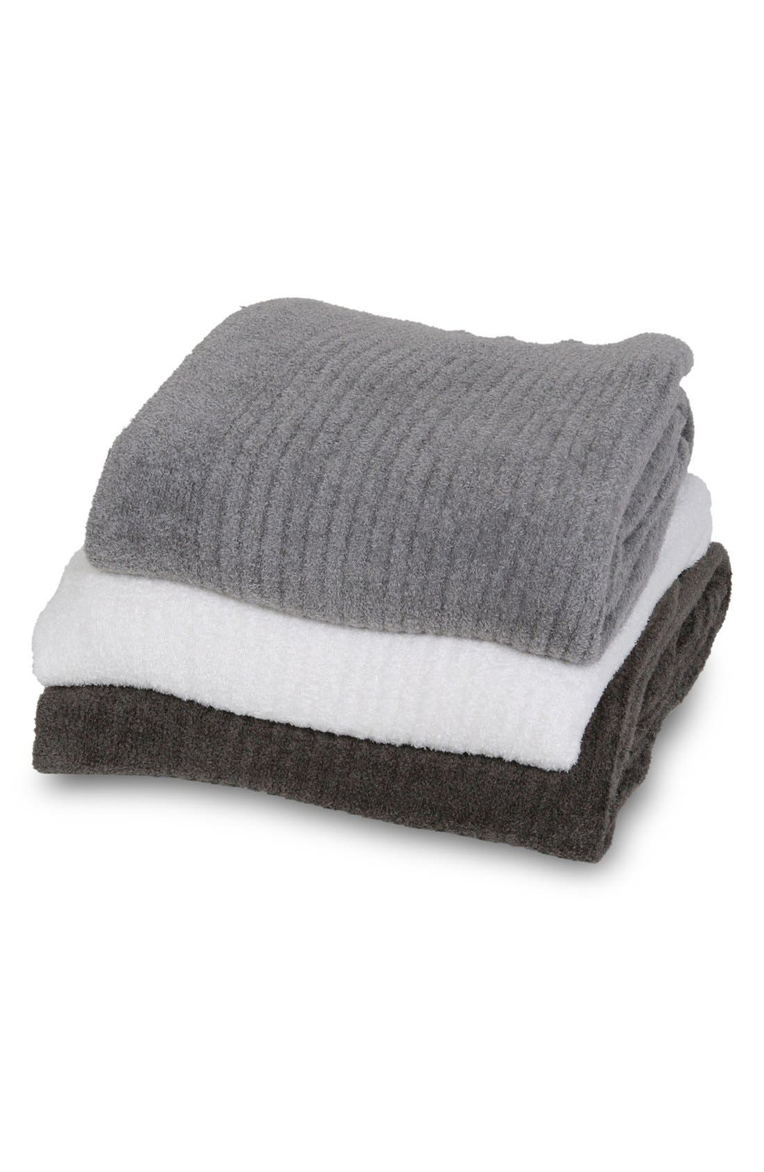 BAREFOOT DREAMS<SUP>®</SUP>, CozyChic Light Ribbed Throw, Alternate thumbnail 3, color, CARBON
