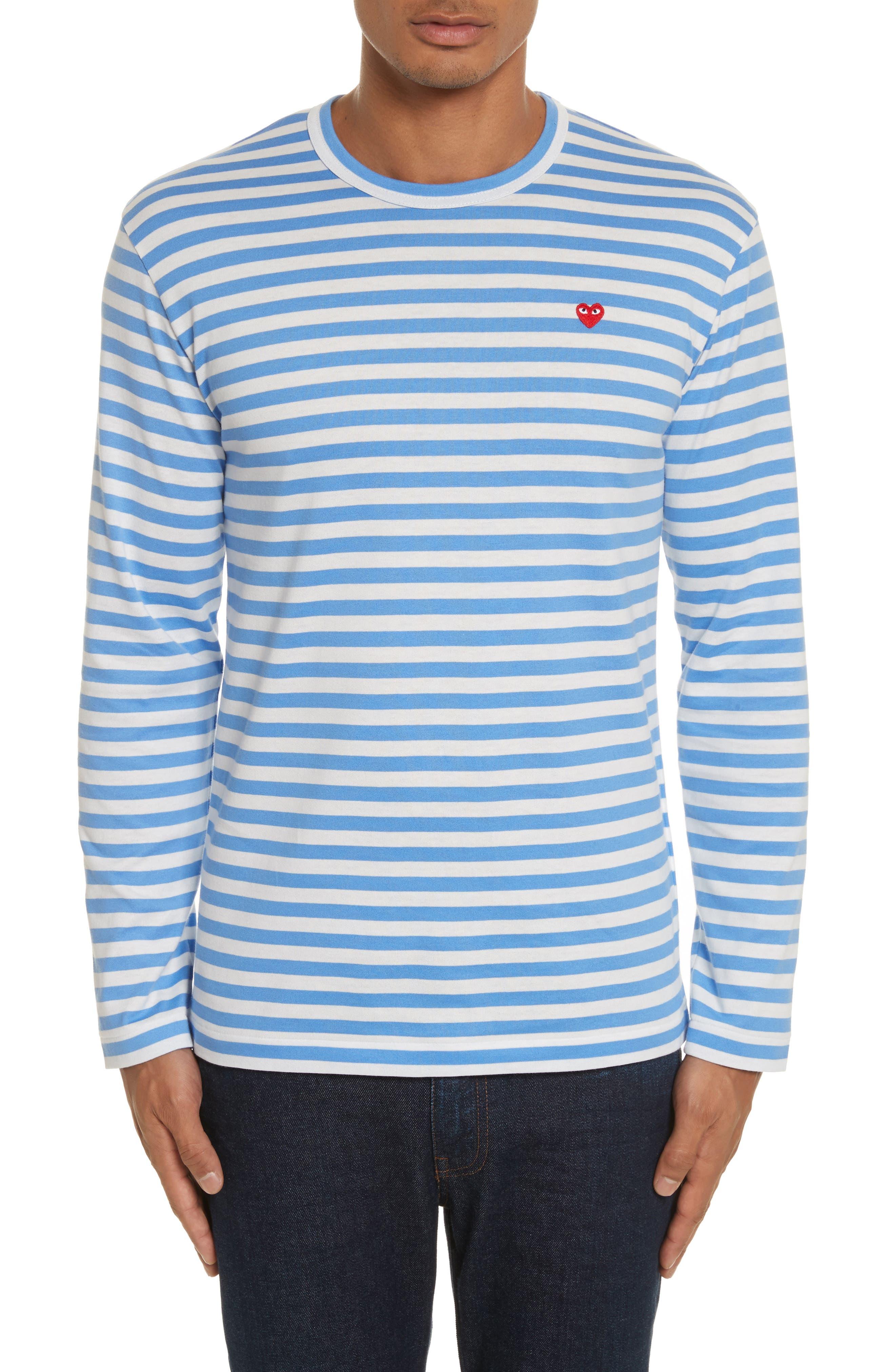 COMME DES GARÇONS PLAY, Long Sleeve Stripe Crewneck T-Shirt, Main thumbnail 1, color, 400