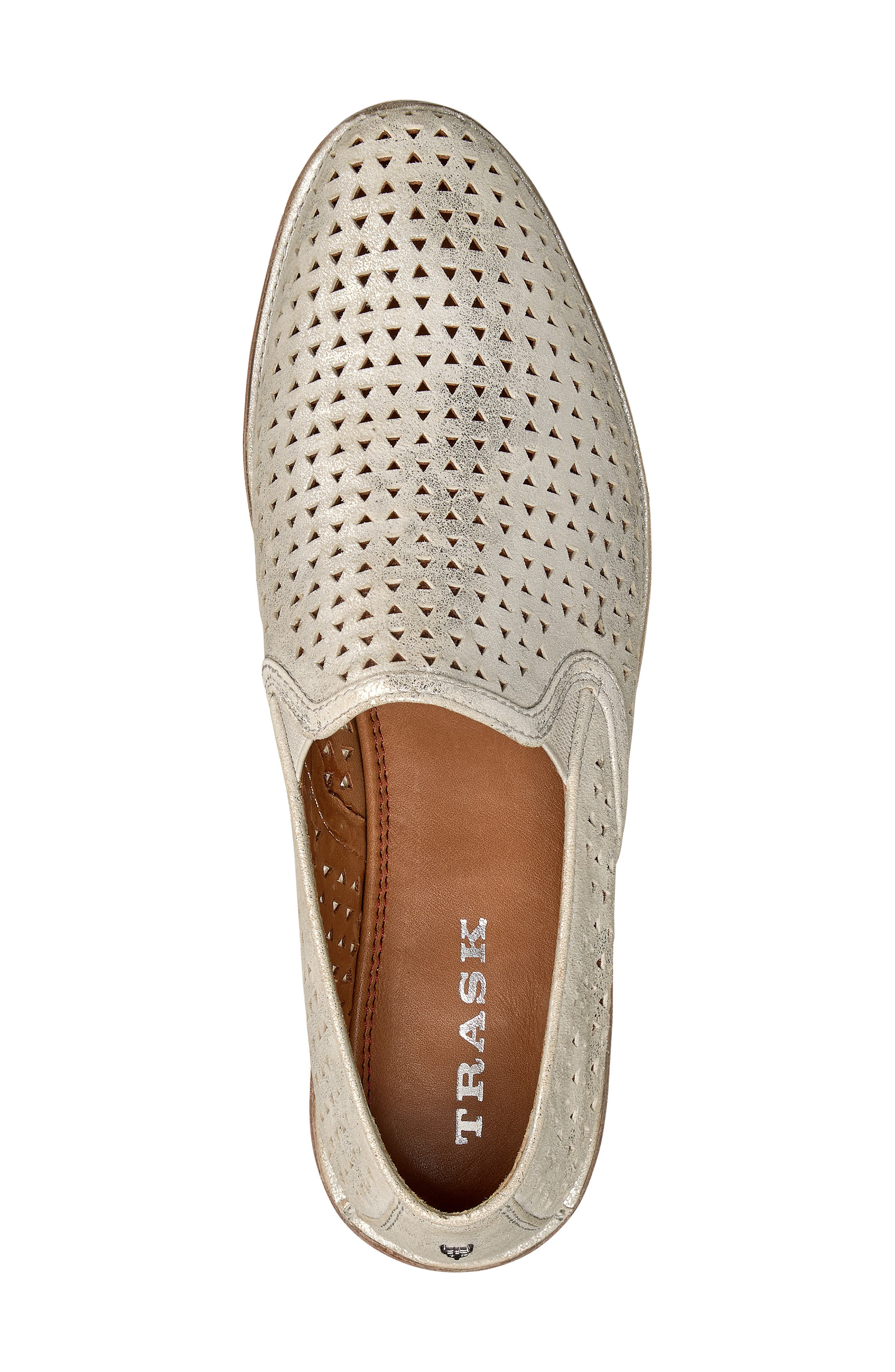 TRASK, Ali Perforated Loafer, Alternate thumbnail 5, color, IVORY METALLIC SUEDE