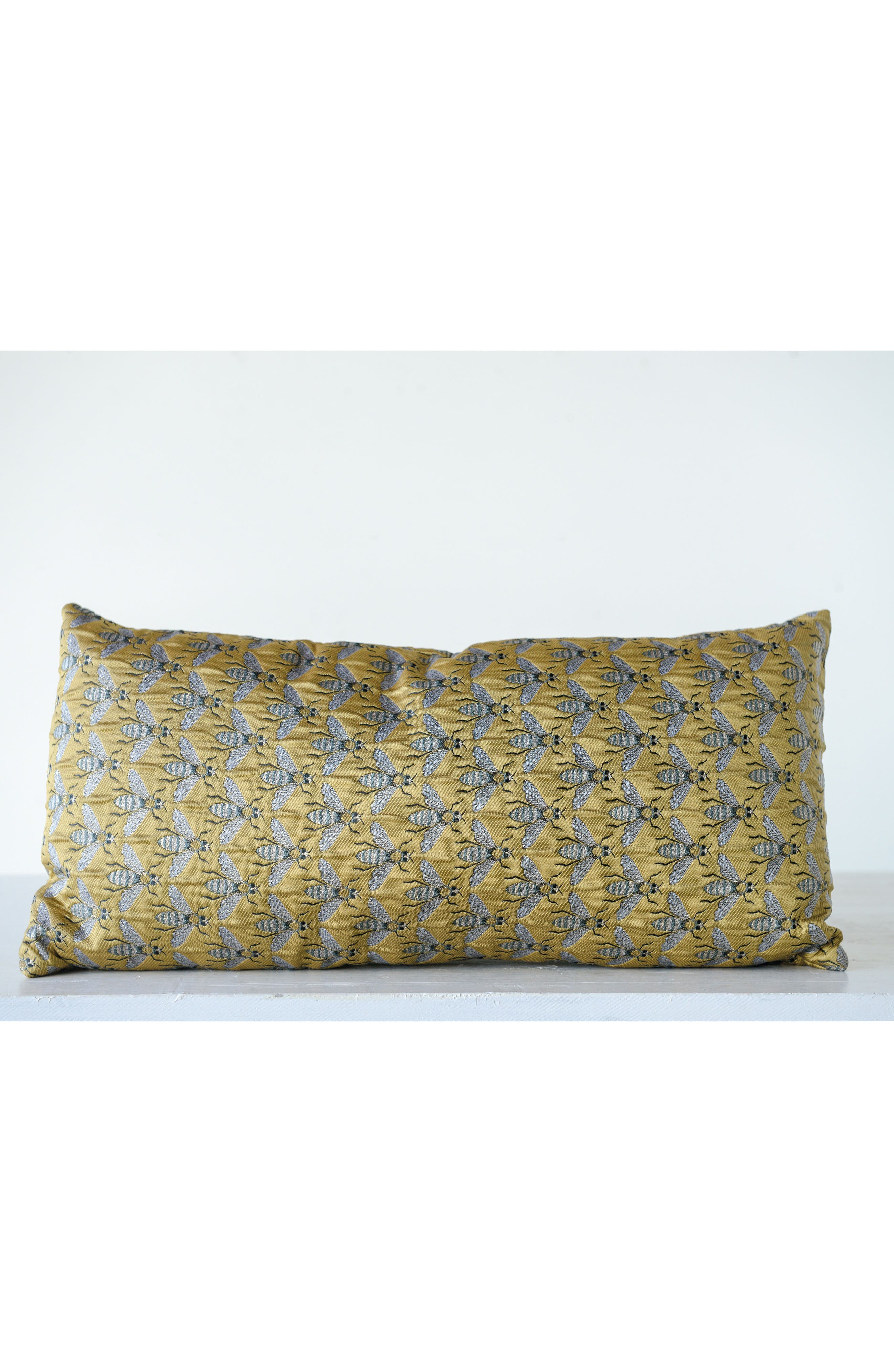 CREATIVE CO-OP, Bee Accent Pillow, Alternate thumbnail 2, color, YELLOW