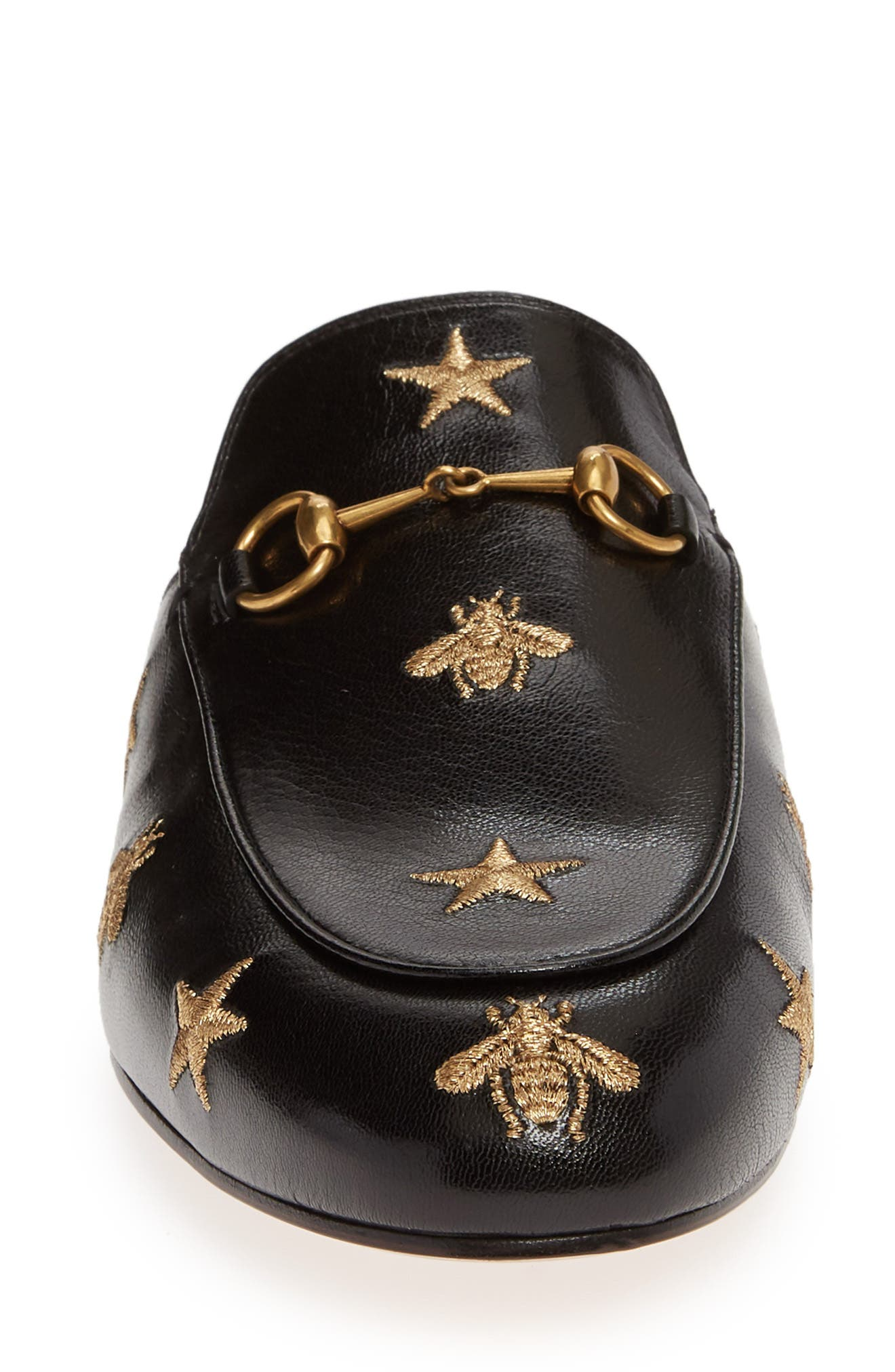 GUCCI, Princetown Mule, Alternate thumbnail 4, color, BLACK LEATHER