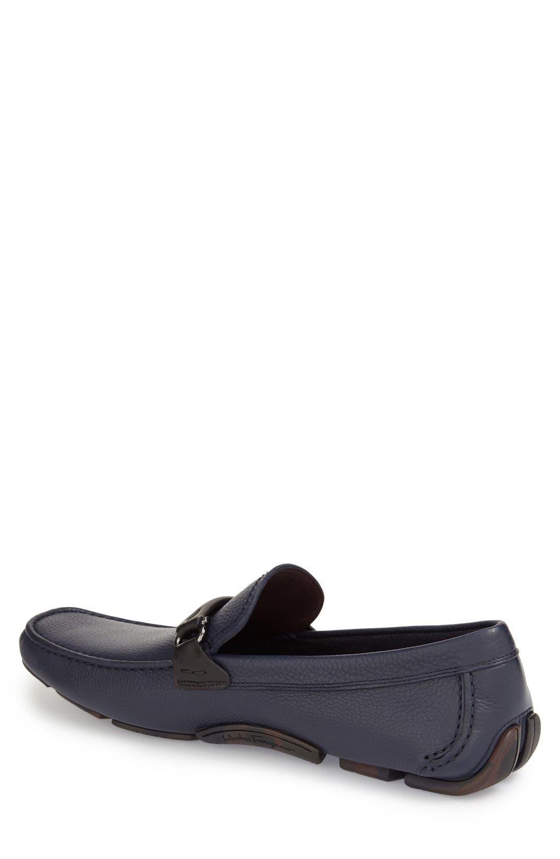 SALVATORE FERRAGAMO, GranprixDriving Shoe, Alternate thumbnail 4, color, BLUE MARIN LEATHER
