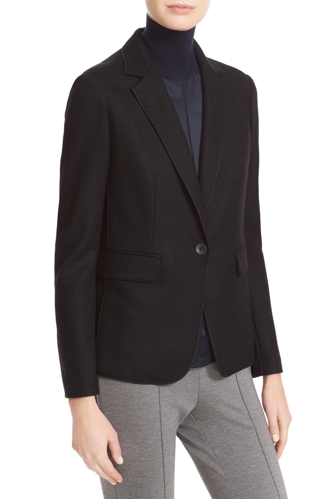 RAG & BONE, Club Wool Blazer, Alternate thumbnail 7, color, BLACK