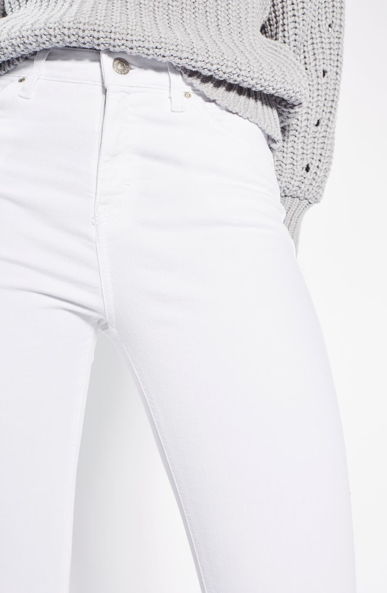 TOPSHOP, Jamie High Waist Ankle Skinny Jeans, Alternate thumbnail 5, color, WHITE