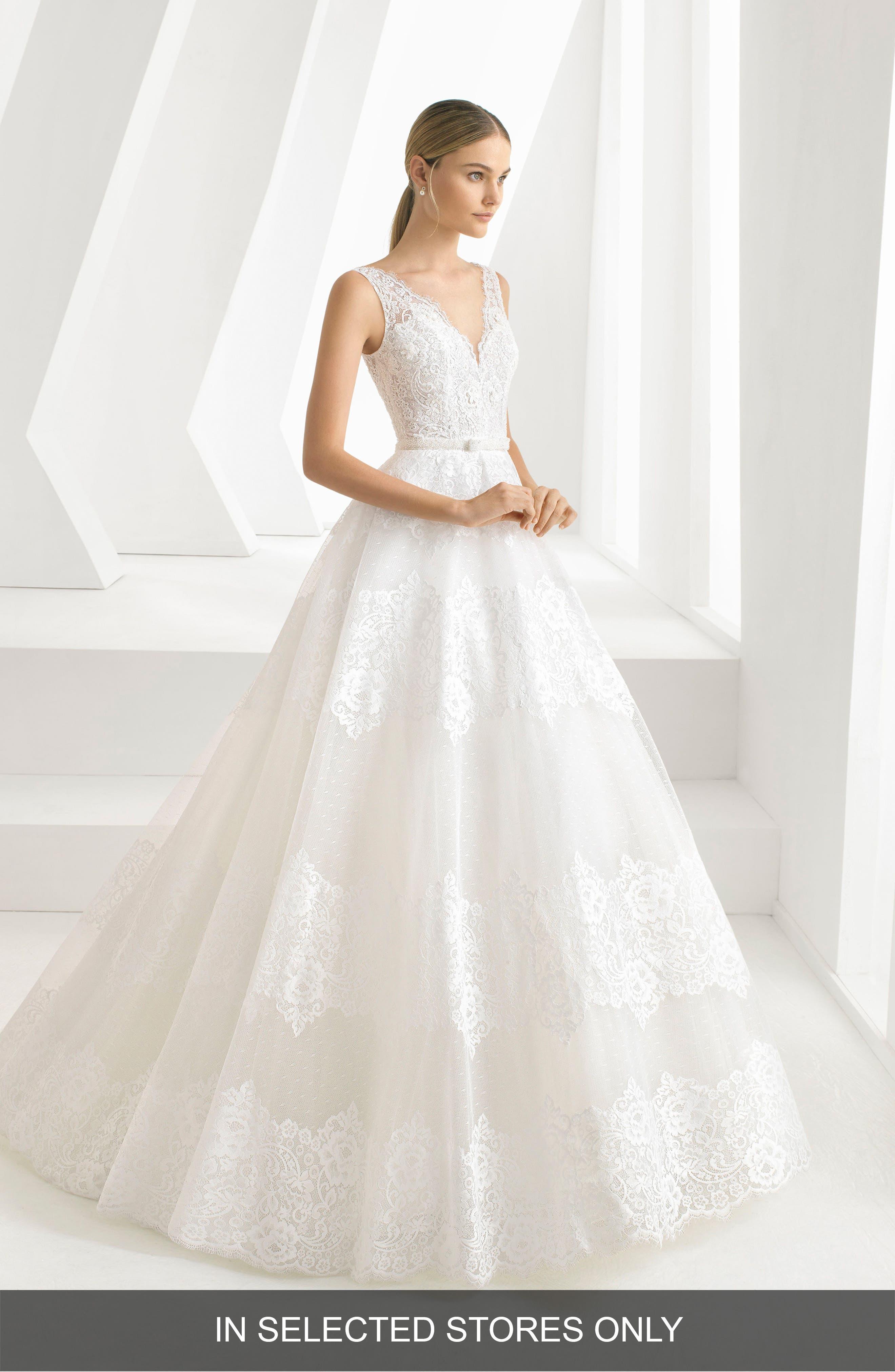 ROSA CLARÁ Delfina Lace & Bead A-Line Gown, Main, color, NATURAL
