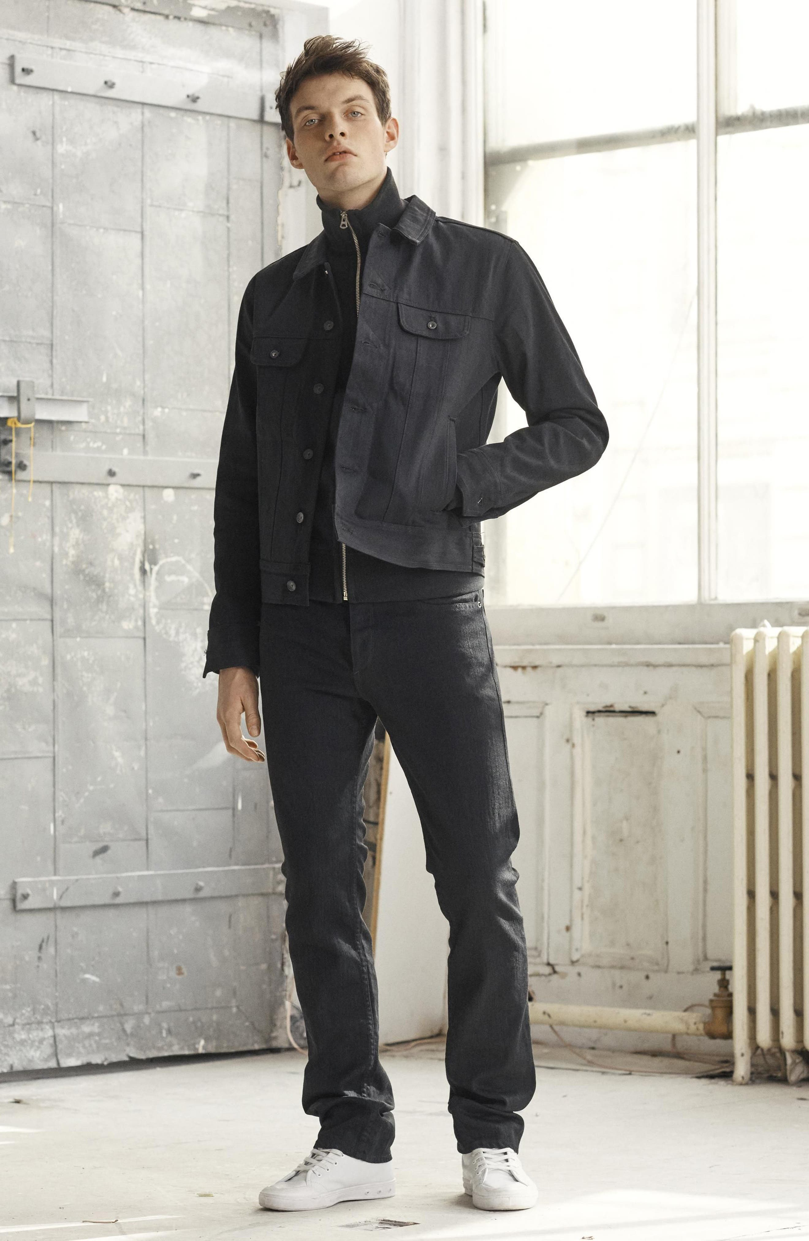 RAG & BONE, Fit 3 Slim Straight Leg Jeans, Alternate thumbnail 8, color, BLACK
