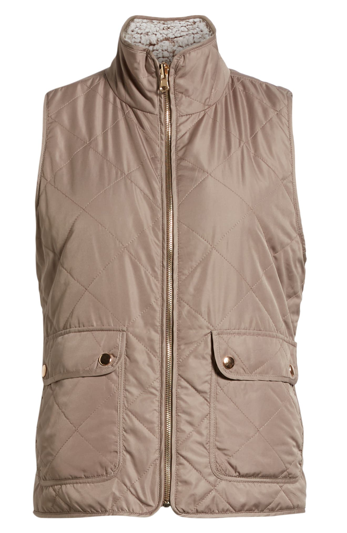 THREAD & SUPPLY, Reversible Fleece Lined Quilted Vest, Alternate thumbnail 7, color, MUSHROOM
