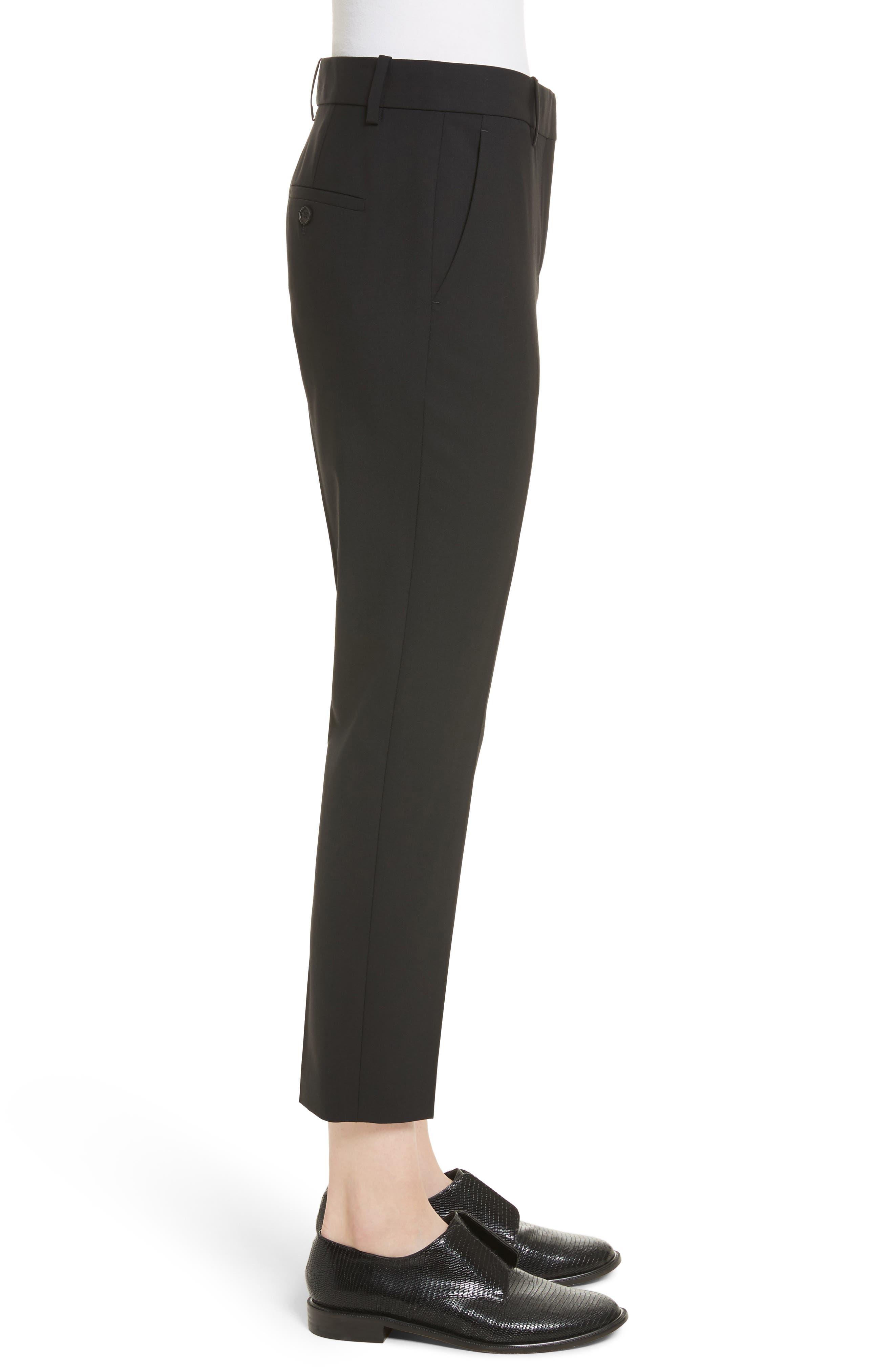 THEORY, Treeca 2 Good Wool Crop Suit Pants, Alternate thumbnail 4, color, BLACK