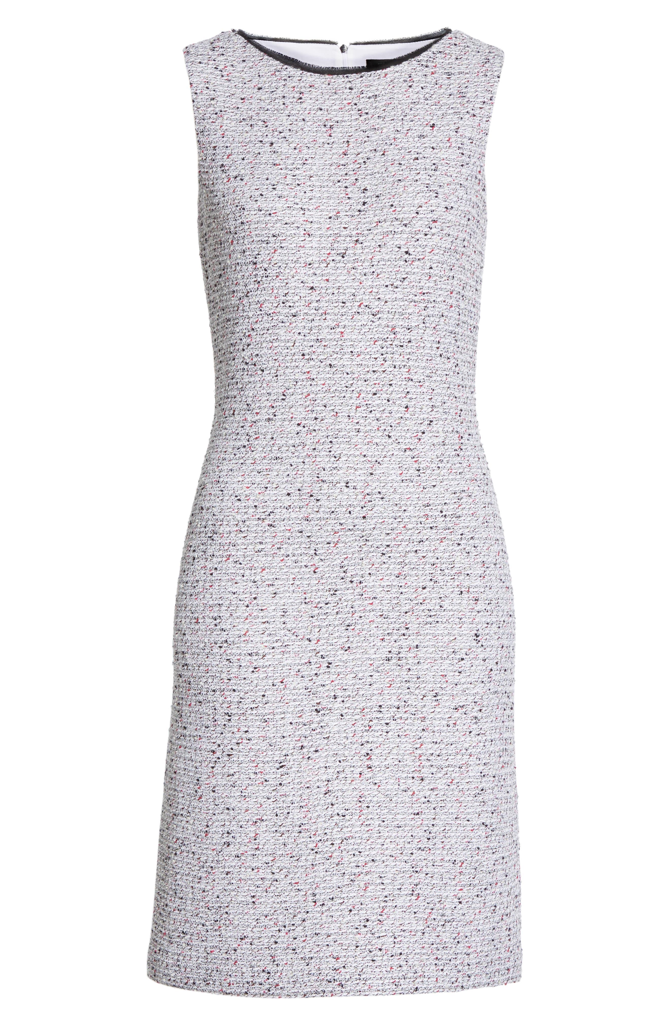 ST. JOHN COLLECTION, Alicia Knit Sheath Dress, Alternate thumbnail 7, color, WHITE/ FLAMINGO MULTI