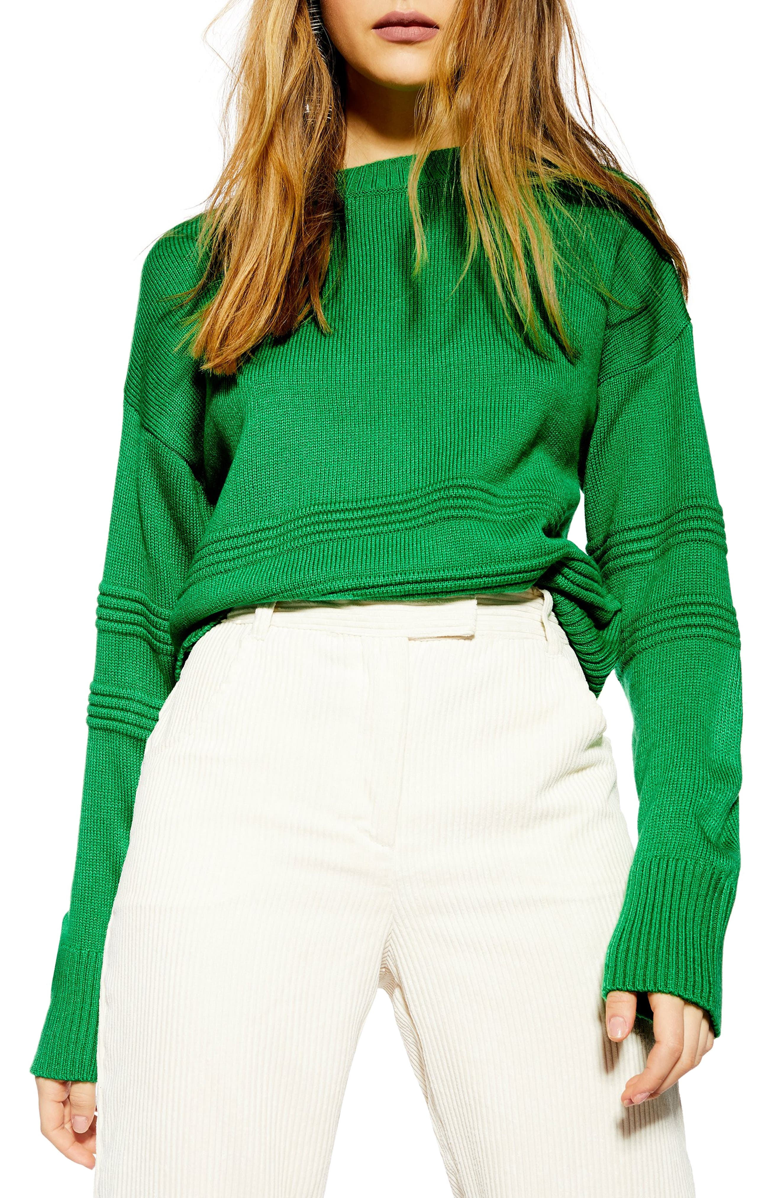 TOPSHOP, Ottoman Stitch Sweater, Main thumbnail 1, color, GREEN