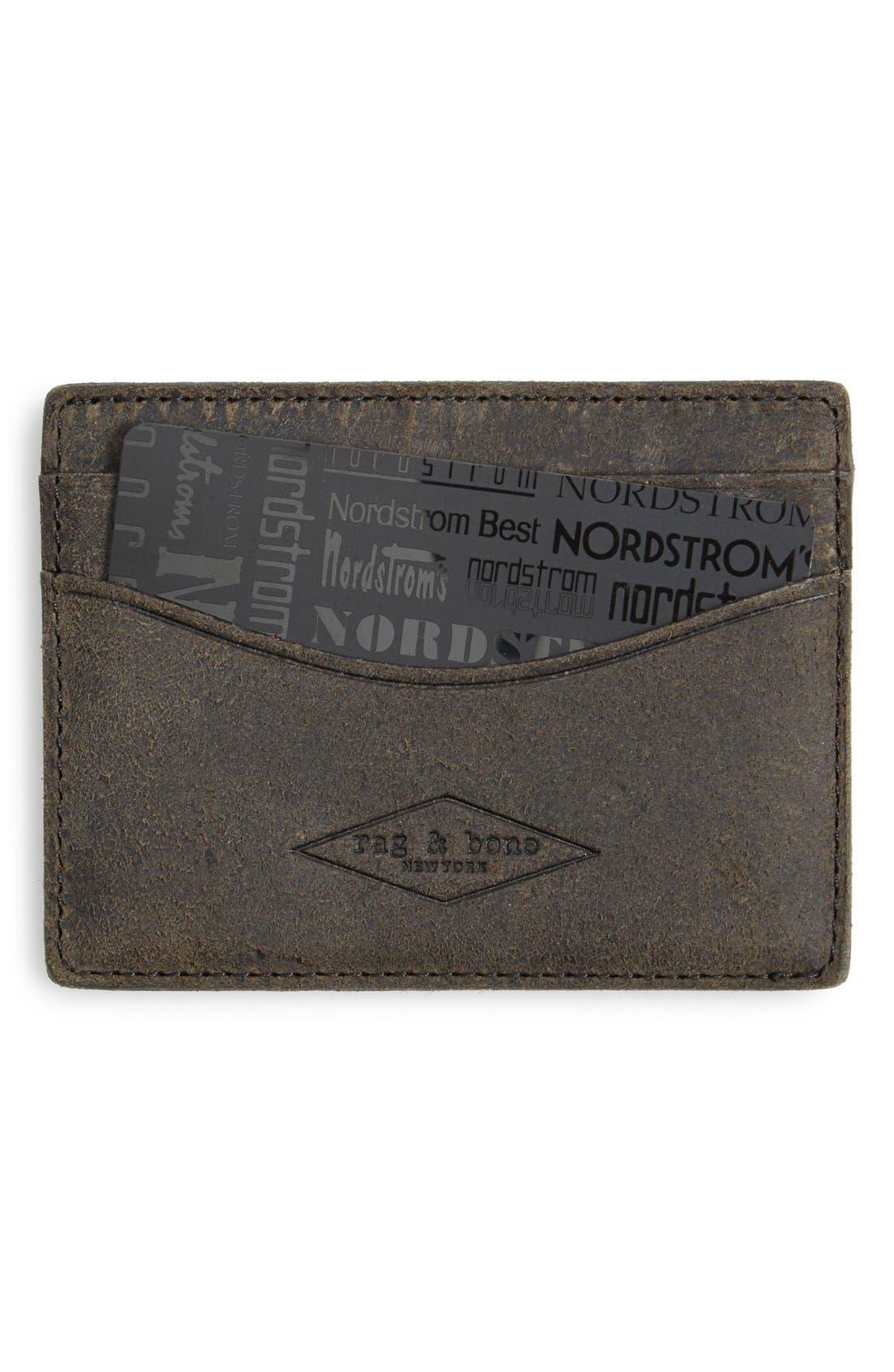 RAG & BONE Suede Card Case, Main, color, 020