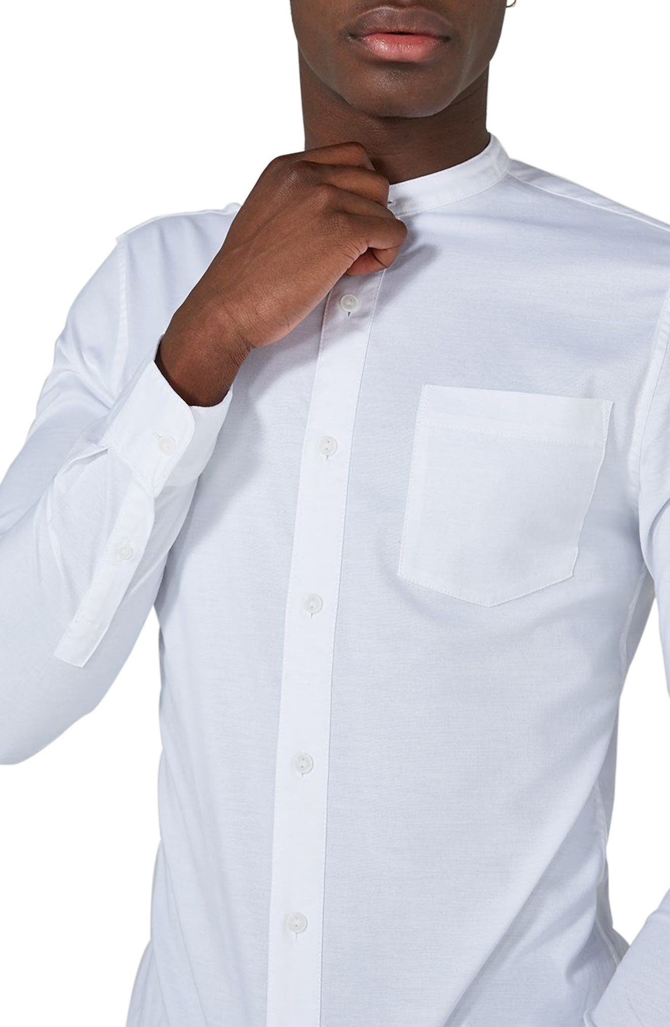 TOPMAN, Muscle Fit Band Collar Shirt, Alternate thumbnail 2, color, WHITE