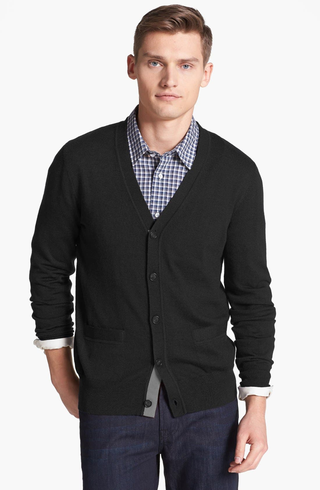JACK SPADE 'Brockman' Merino Wool Cardigan, Main, color, 001