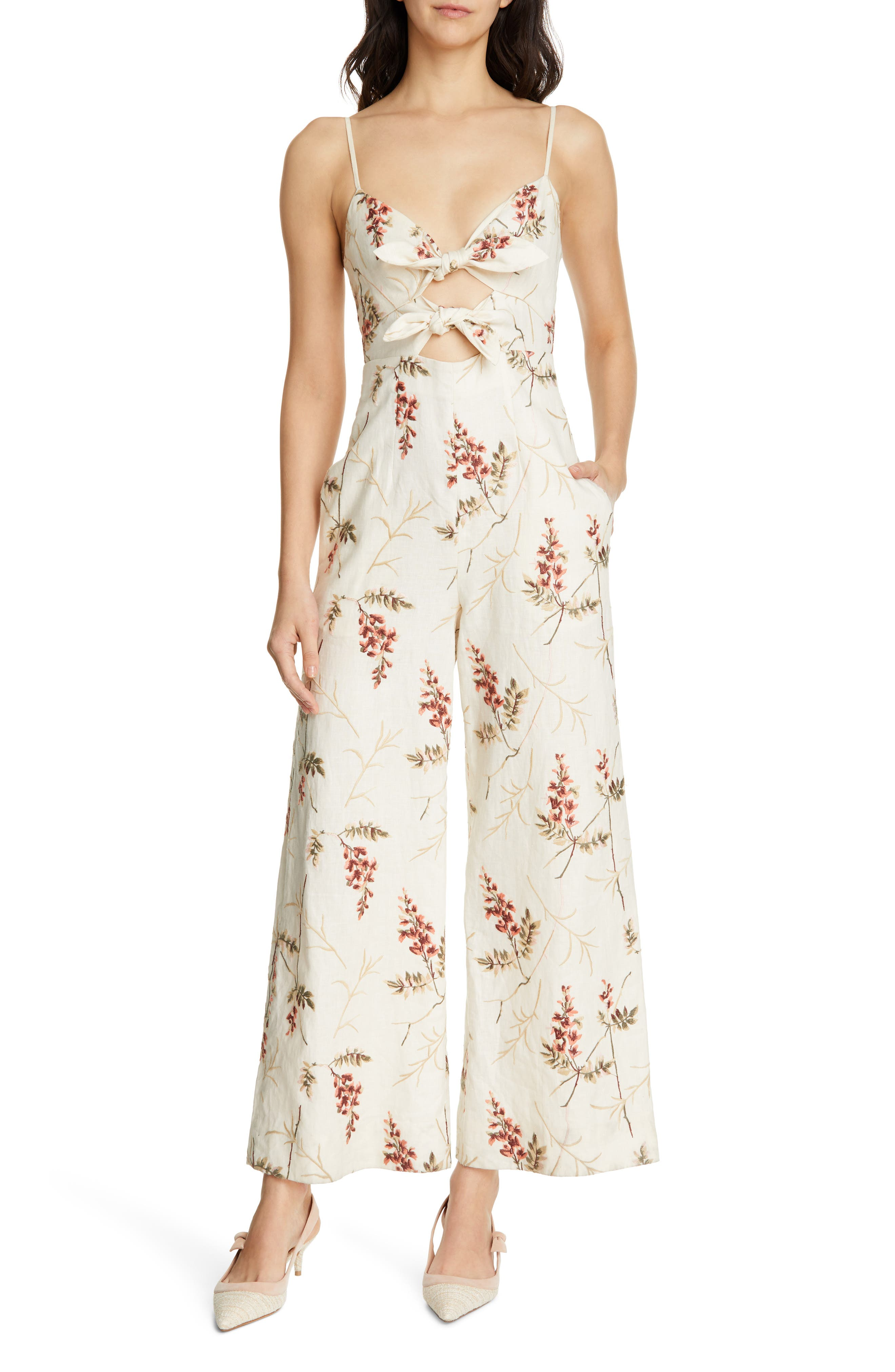 REBECCA TAYLOR Embroidered Linen Jumpsuit, Main, color, CREAM COMBO