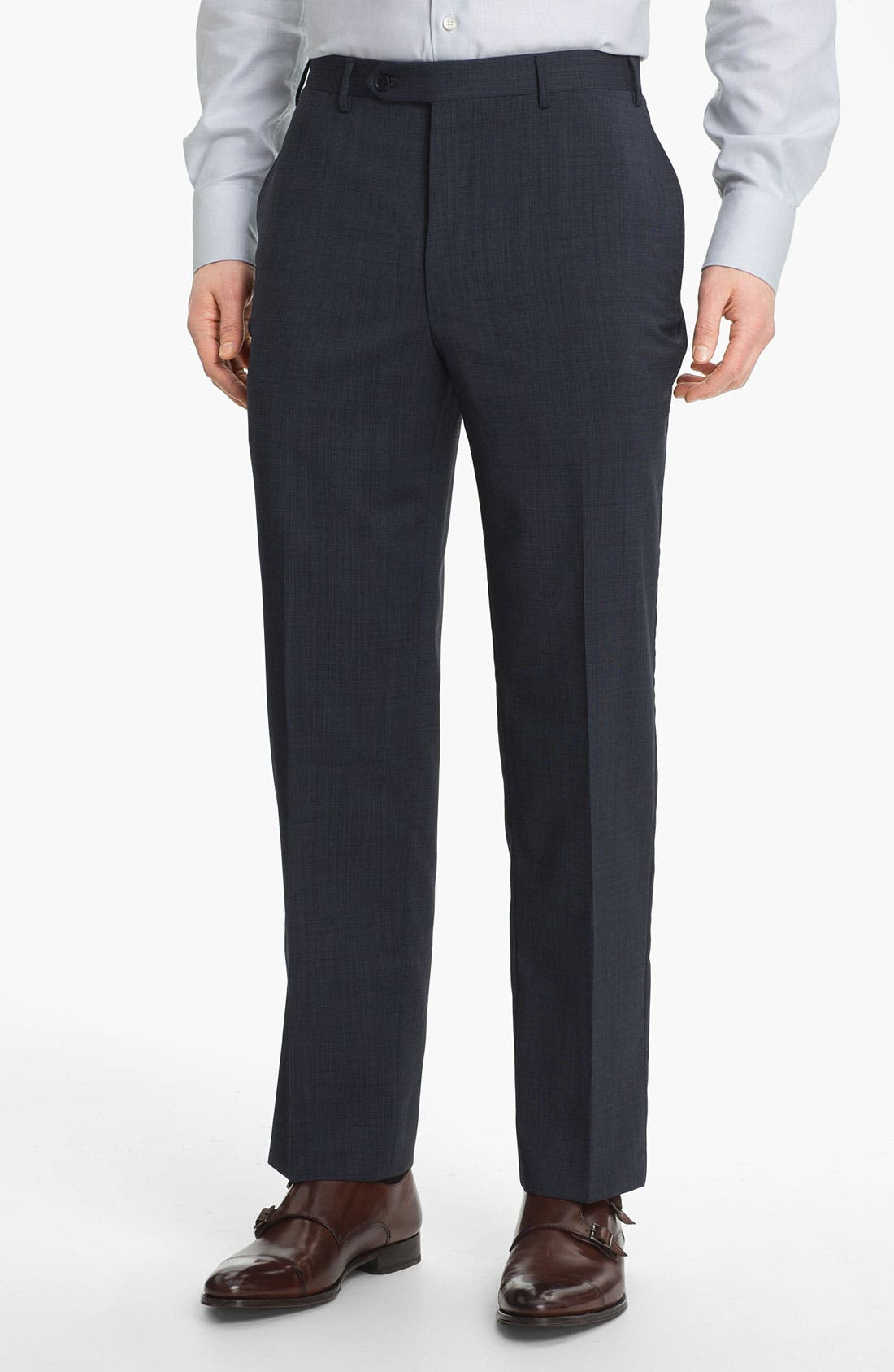 CANALI Flat Front Wool Trousers, Main, color, BLUE