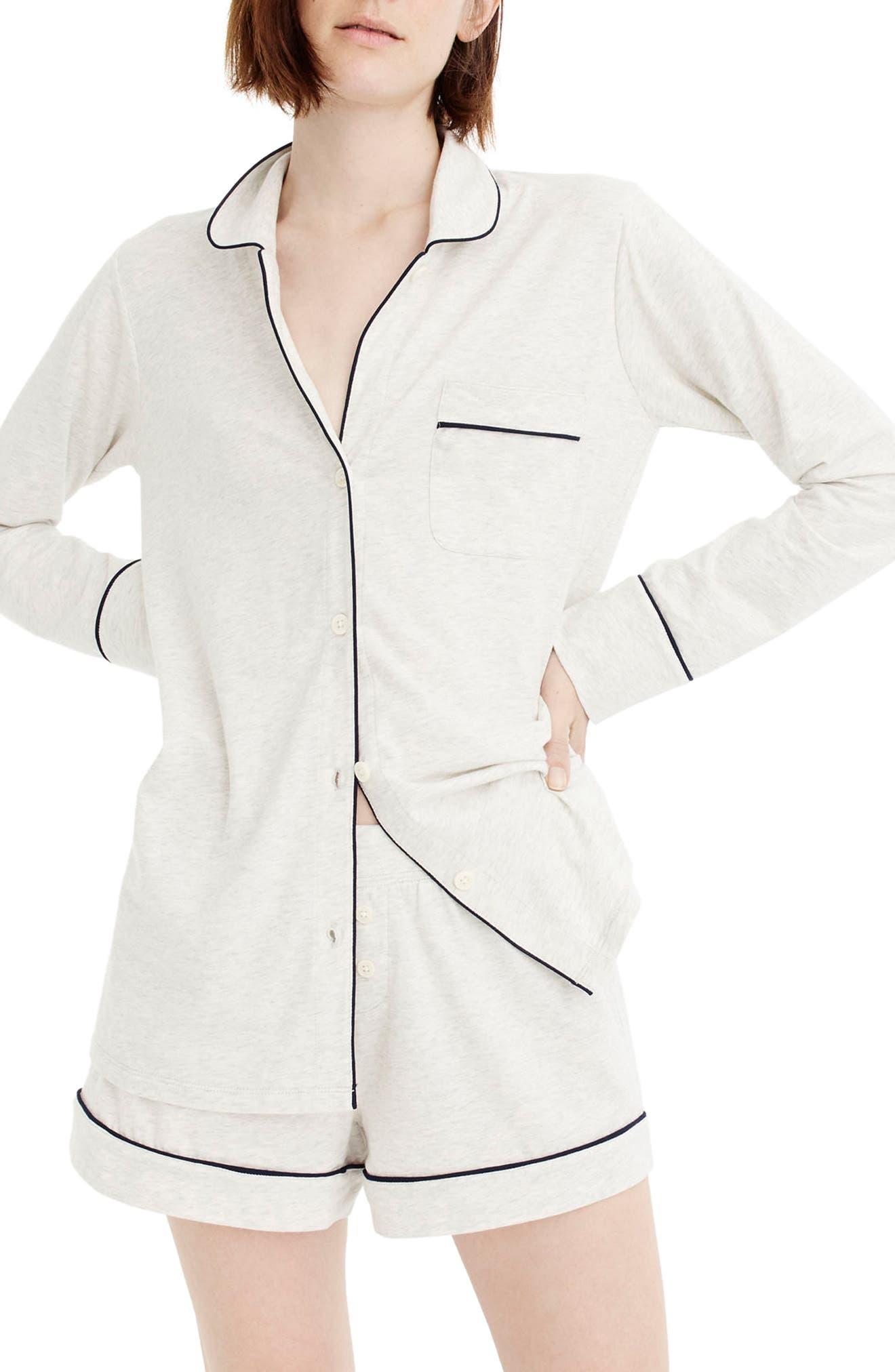 J.CREW, Dreamy Short Cotton Pajamas, Main thumbnail 1, color, HEATHER CLOUD