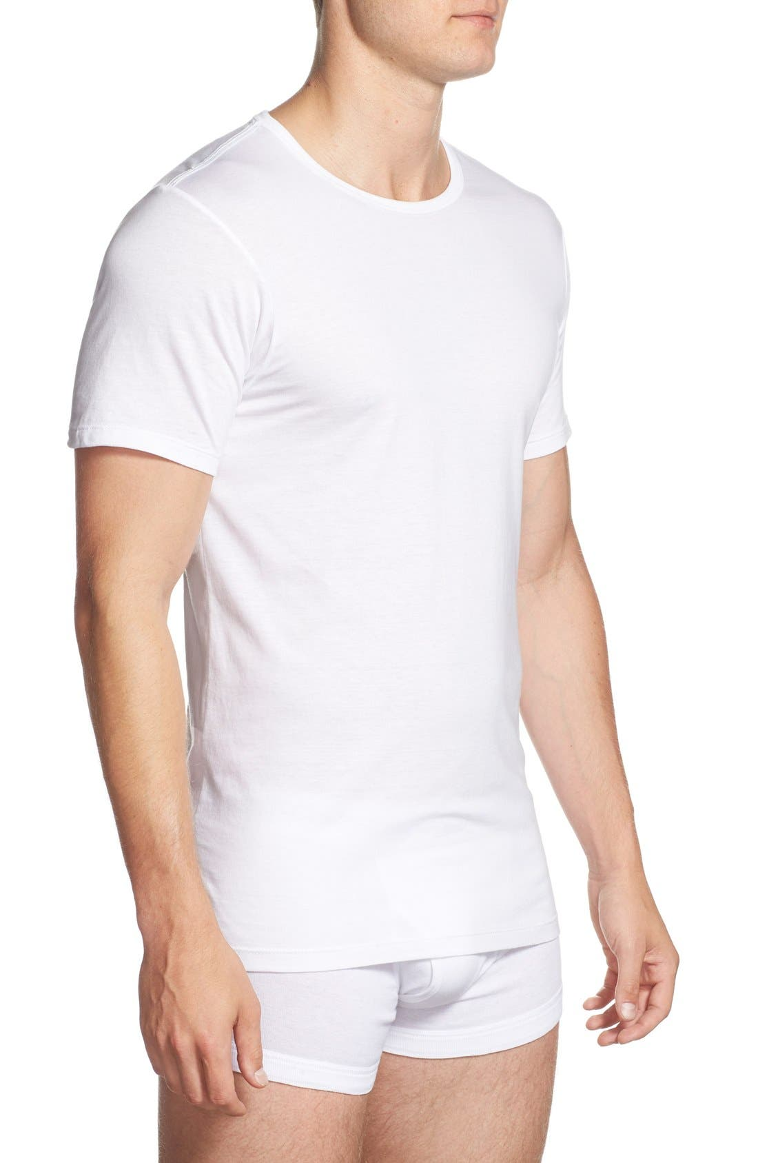 CALVIN KLEIN, Slim Fit 3-Pack Cotton T-Shirt, Alternate thumbnail 3, color, WHITE