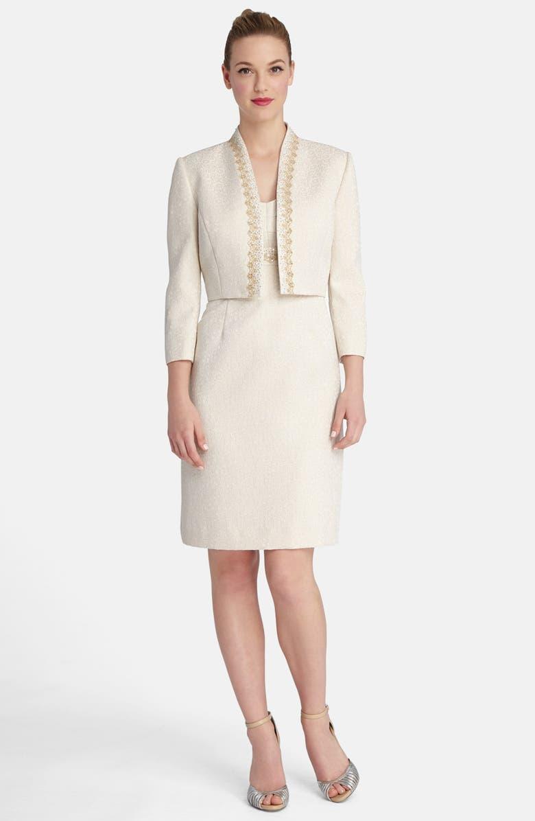 40109908 TAHARI Embellished Metallic Jacquard Sheath Dress & Jacket, Main, color, ...
