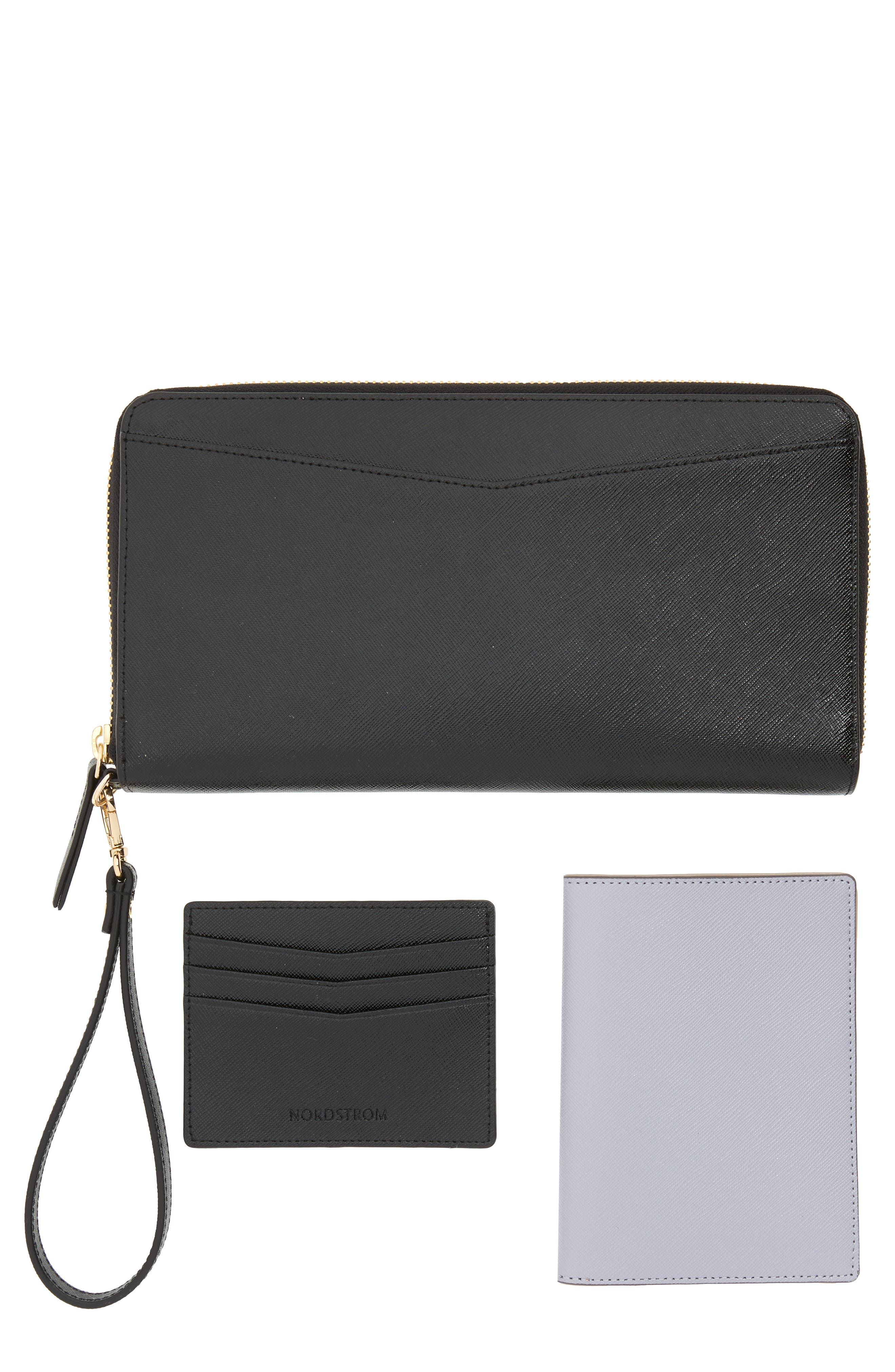 NORDSTROM, Leather Travel Organizer, Main thumbnail 1, color, BLACK