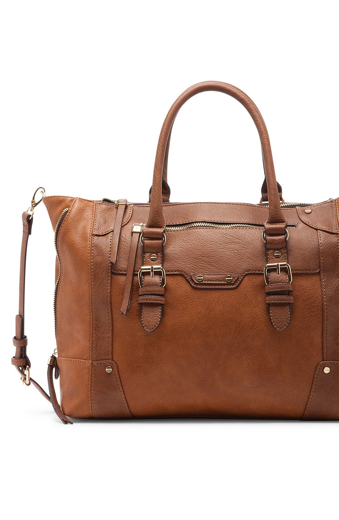 SOLE SOCIETY, 'Susan' Winged Faux Leather Tote, Alternate thumbnail 3, color, BROWN