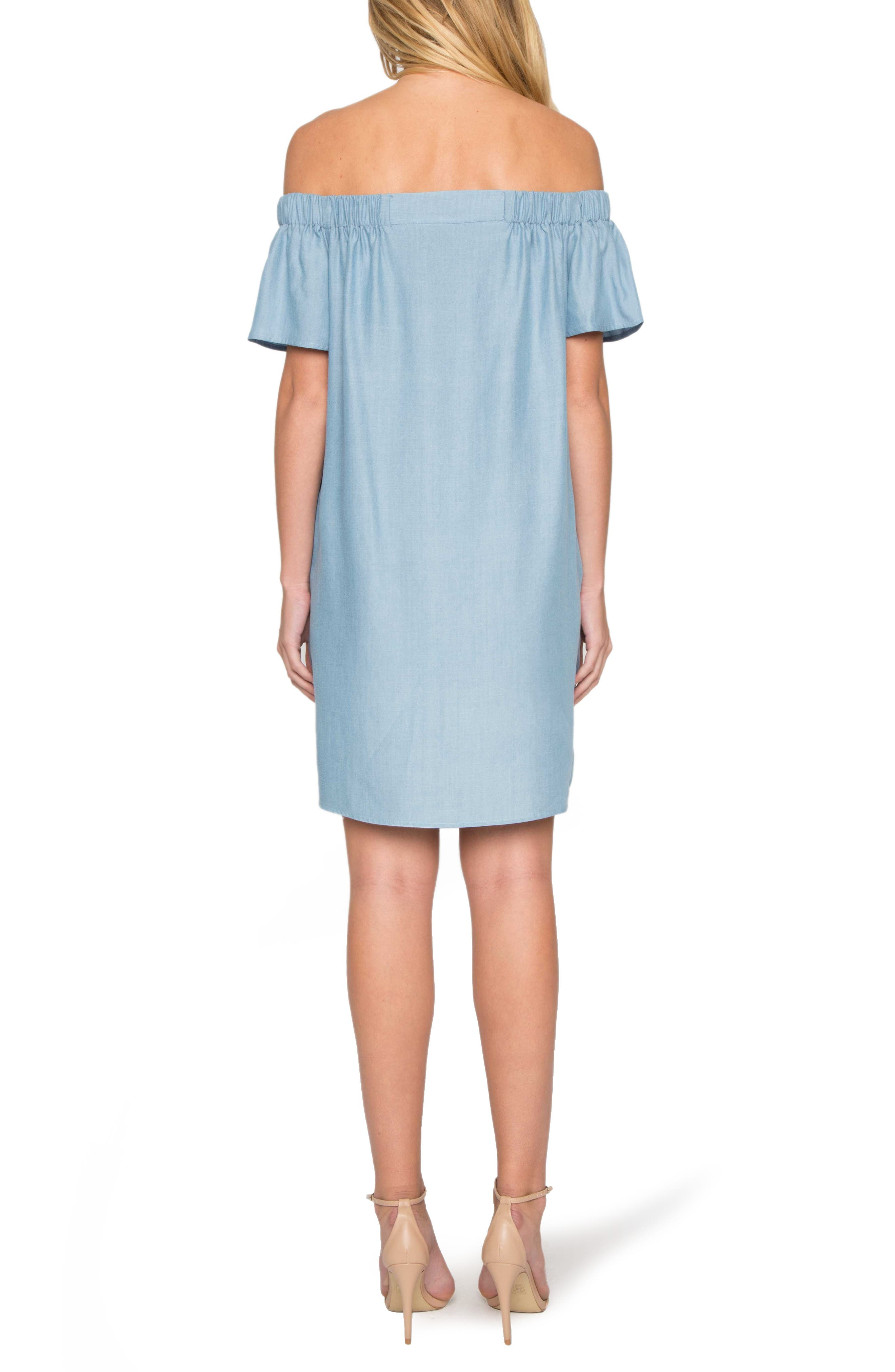 WILLOW & CLAY, Off the Shoulder Minidress, Alternate thumbnail 2, color, 453