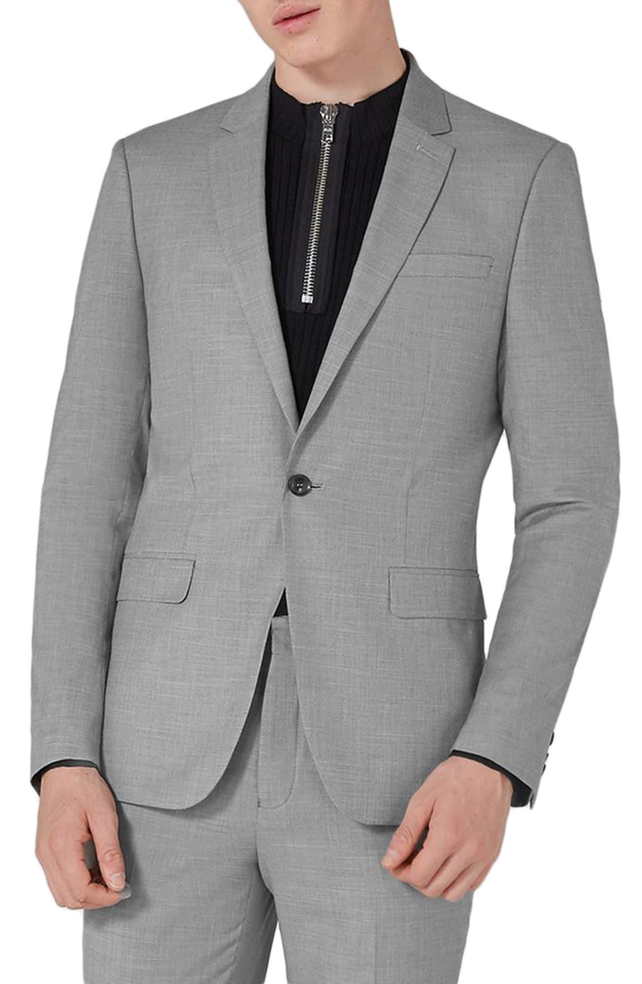 TOPMAN, Skinny Fit Suit Jacket, Main thumbnail 1, color, GREY
