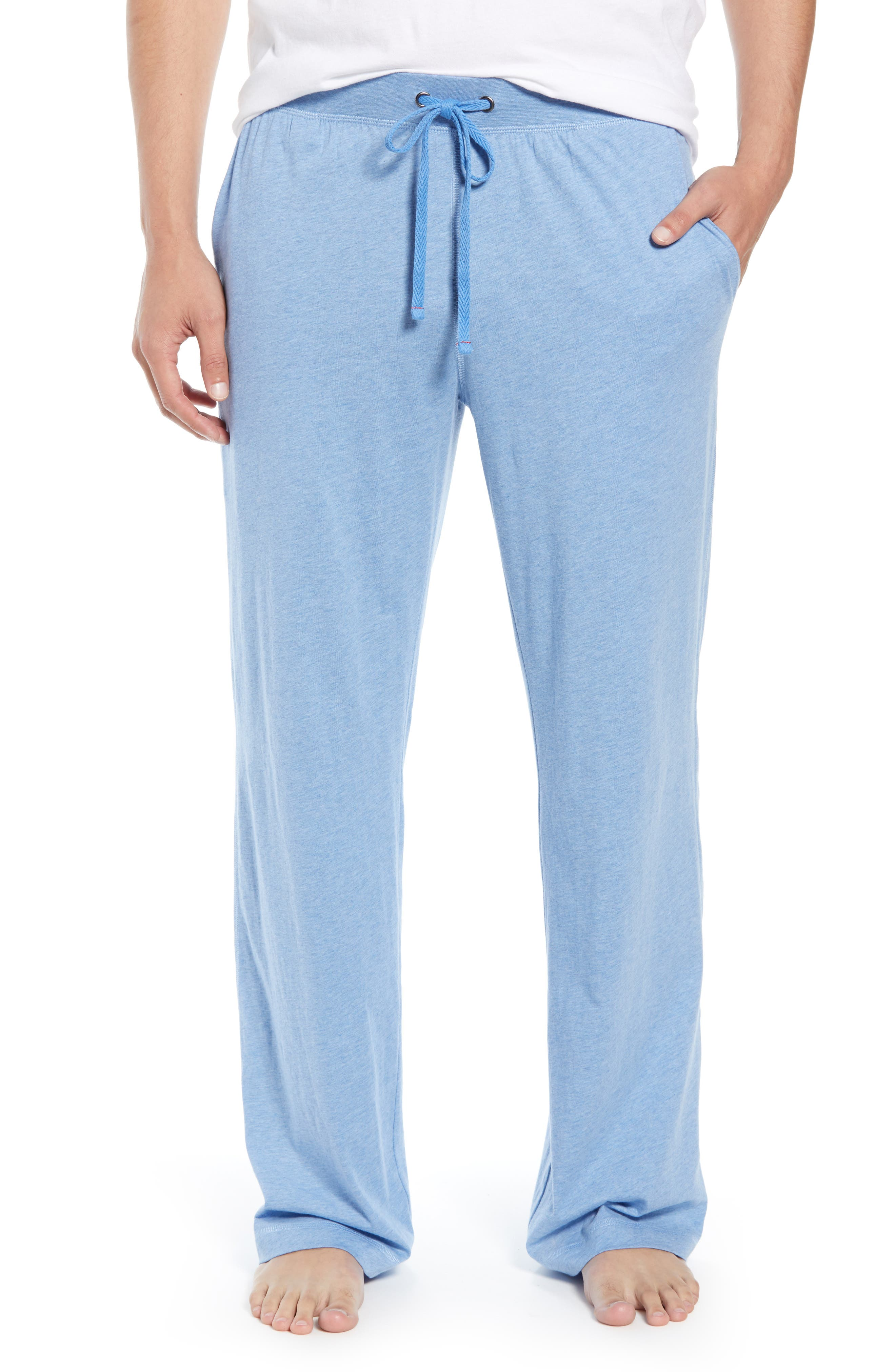 DANIEL BUCHLER, Peruvian Pima Lightweight Cotton Lounge Pants, Main thumbnail 1, color, BLUE HEATHER