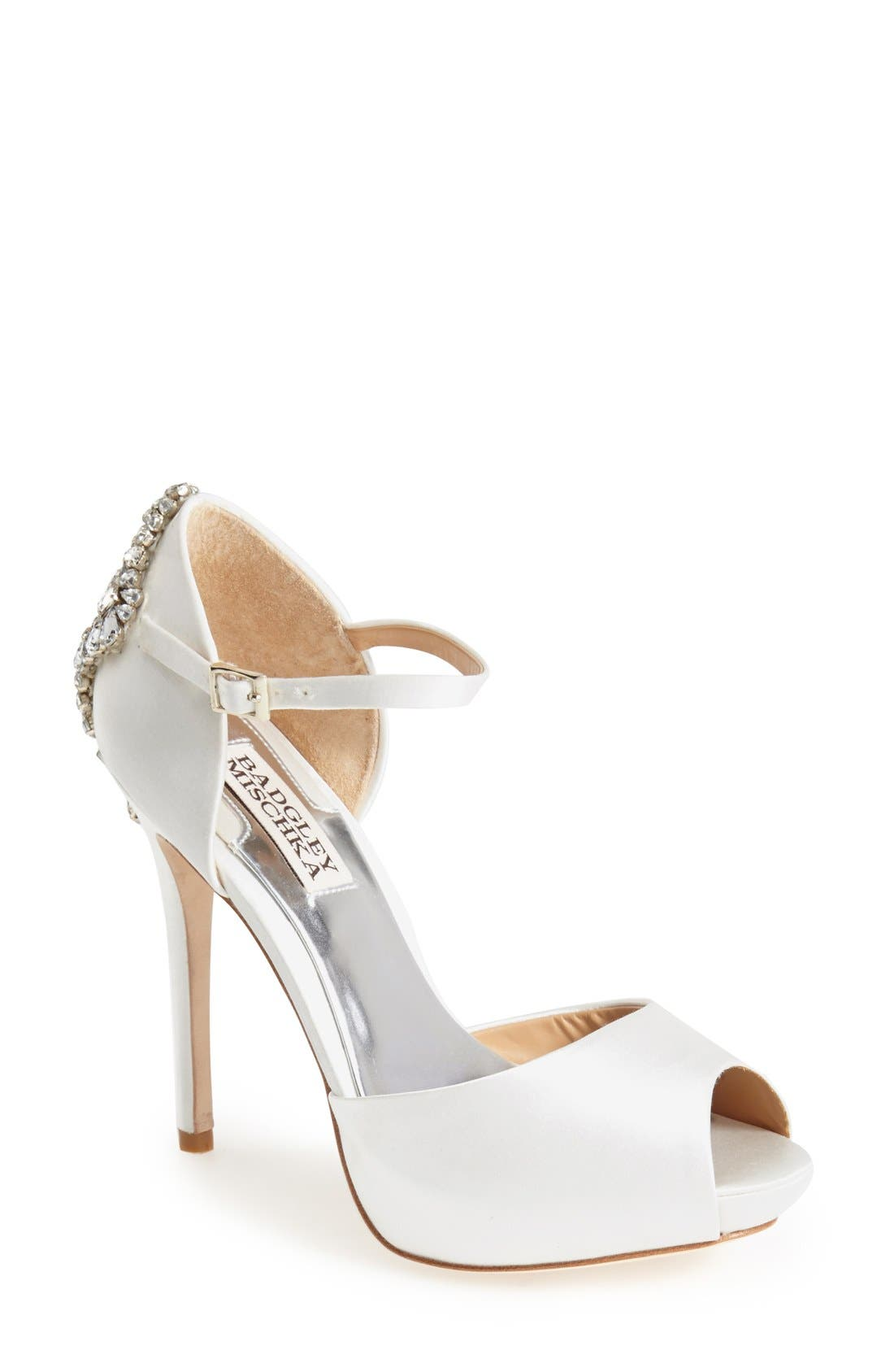 BADGLEY MISCHKA COLLECTION, Badgley Mischka 'Gene' Crystal Back Ankle Strap Pump, Main thumbnail 1, color, 142
