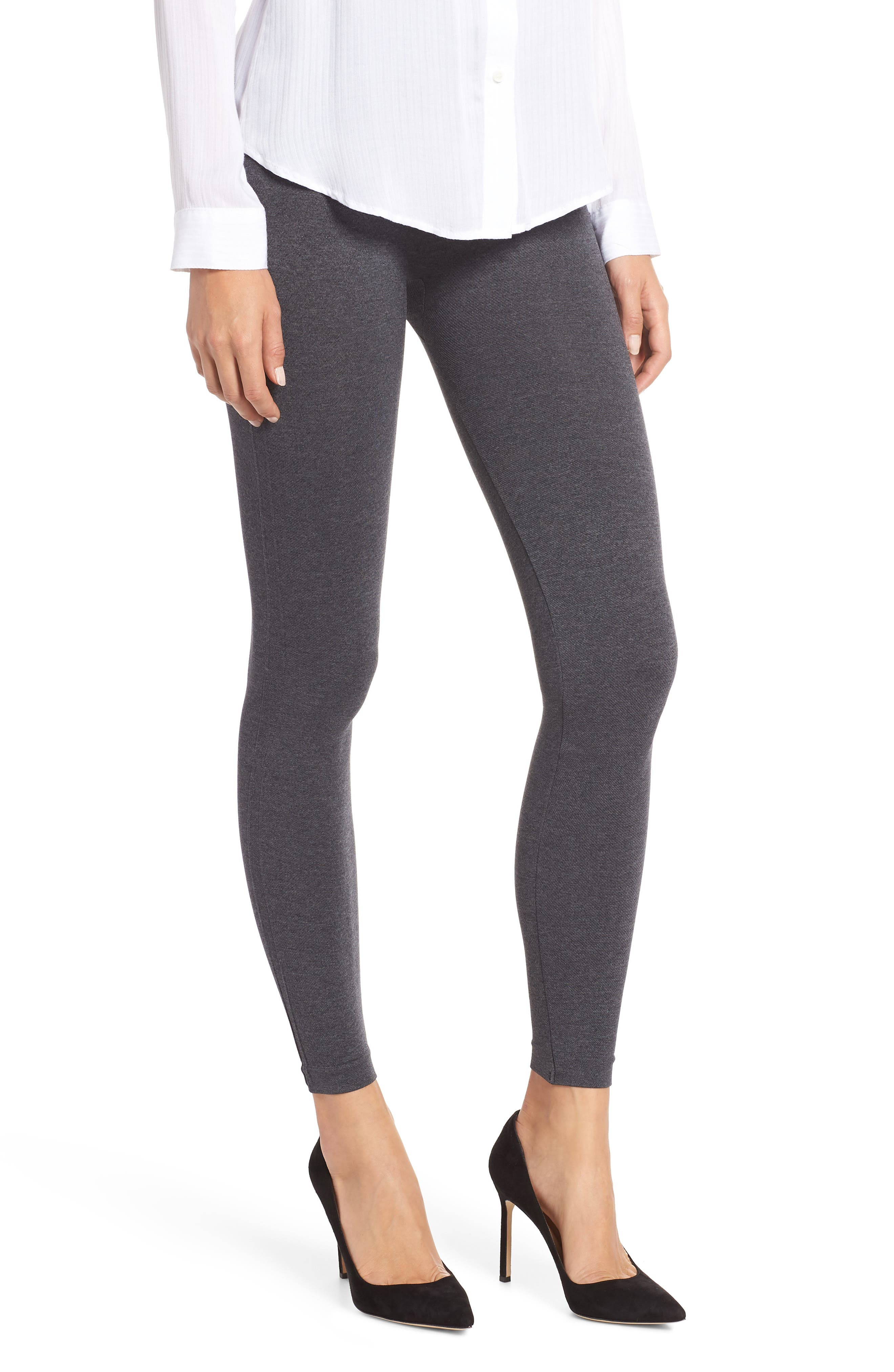 SPANX<SUP>®</SUP>, Look at Me Now' Seamless Leggings, Main thumbnail 1, color, HEATHER CHARCOAL