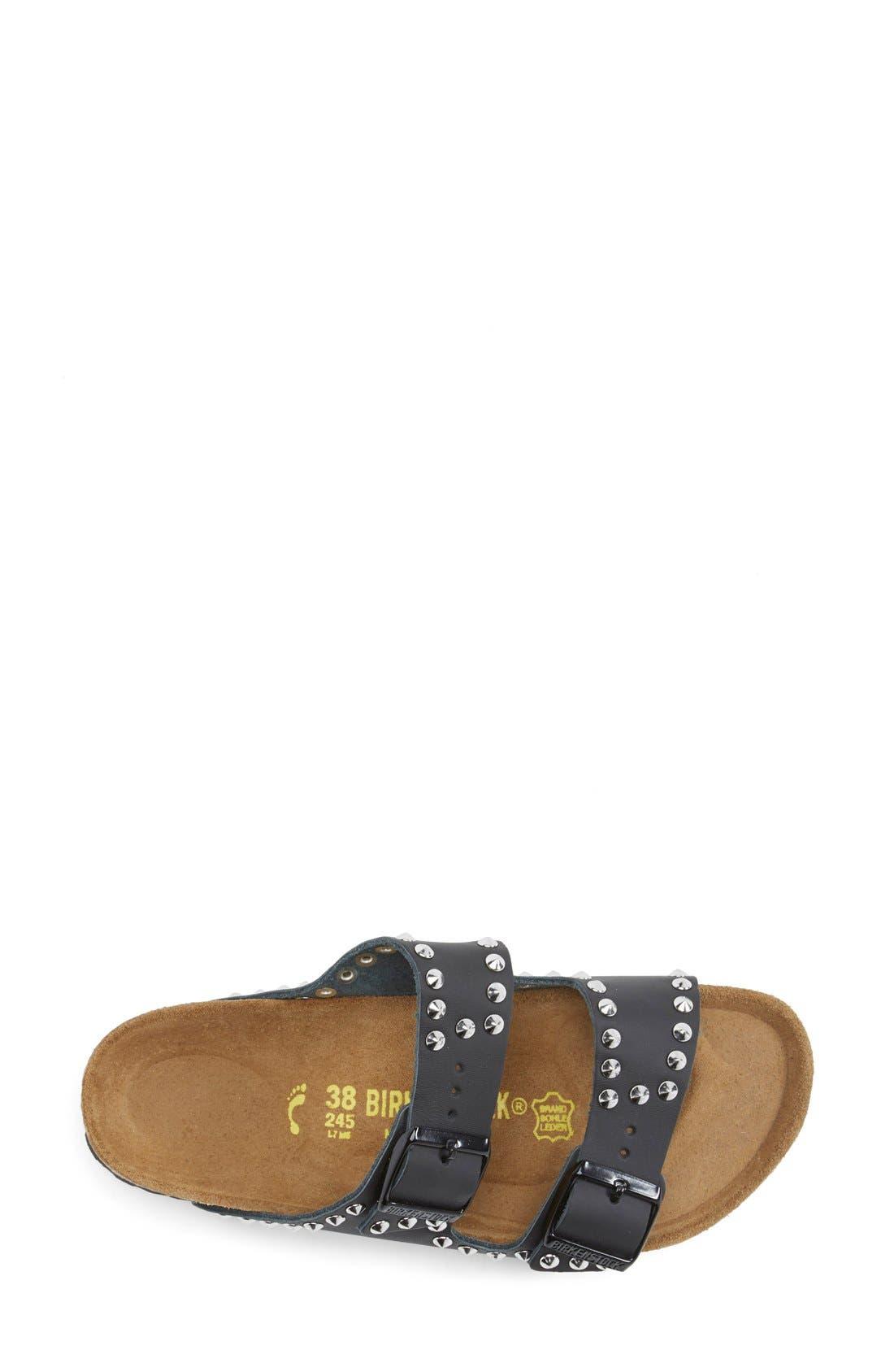 BIRKENSTOCK, 'Arizona' Studded Leather Sandal, Alternate thumbnail 4, color, 001