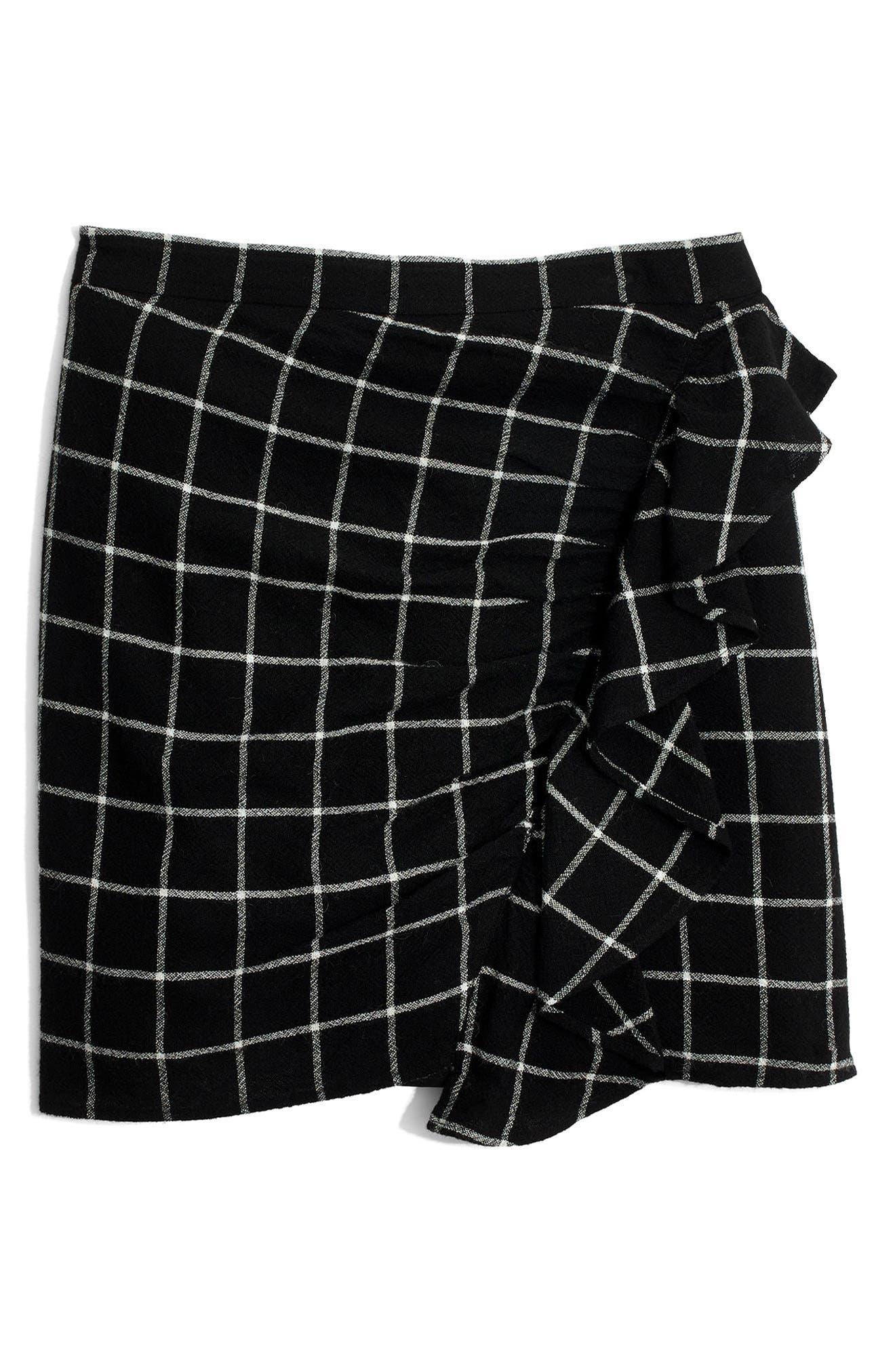 MADEWELL, Windowpane Ruffle Front Miniskirt, Alternate thumbnail 4, color, 009