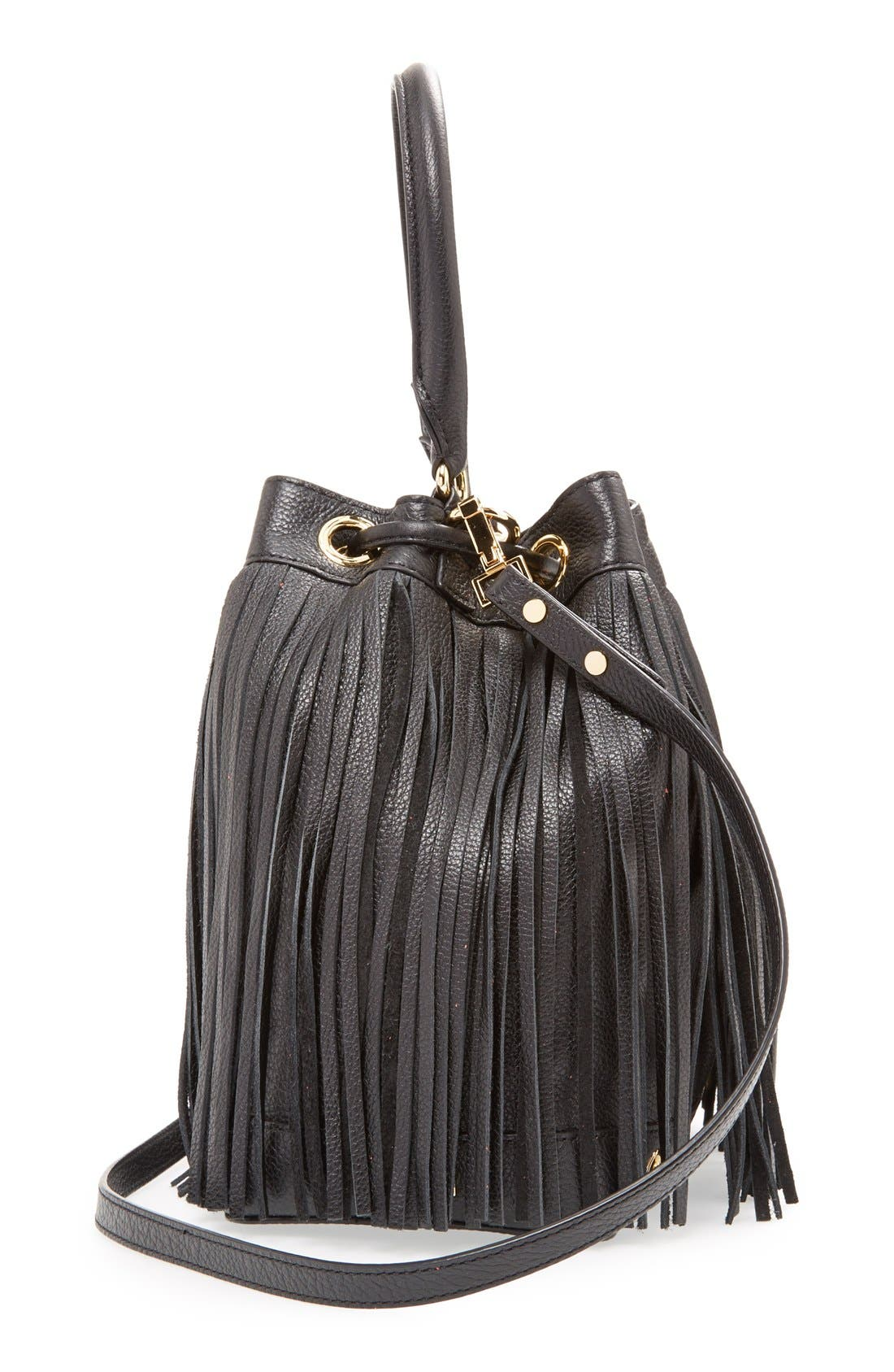 MILLY, 'Essex' Fringed Leather Bucket Bag, Alternate thumbnail 3, color, 001