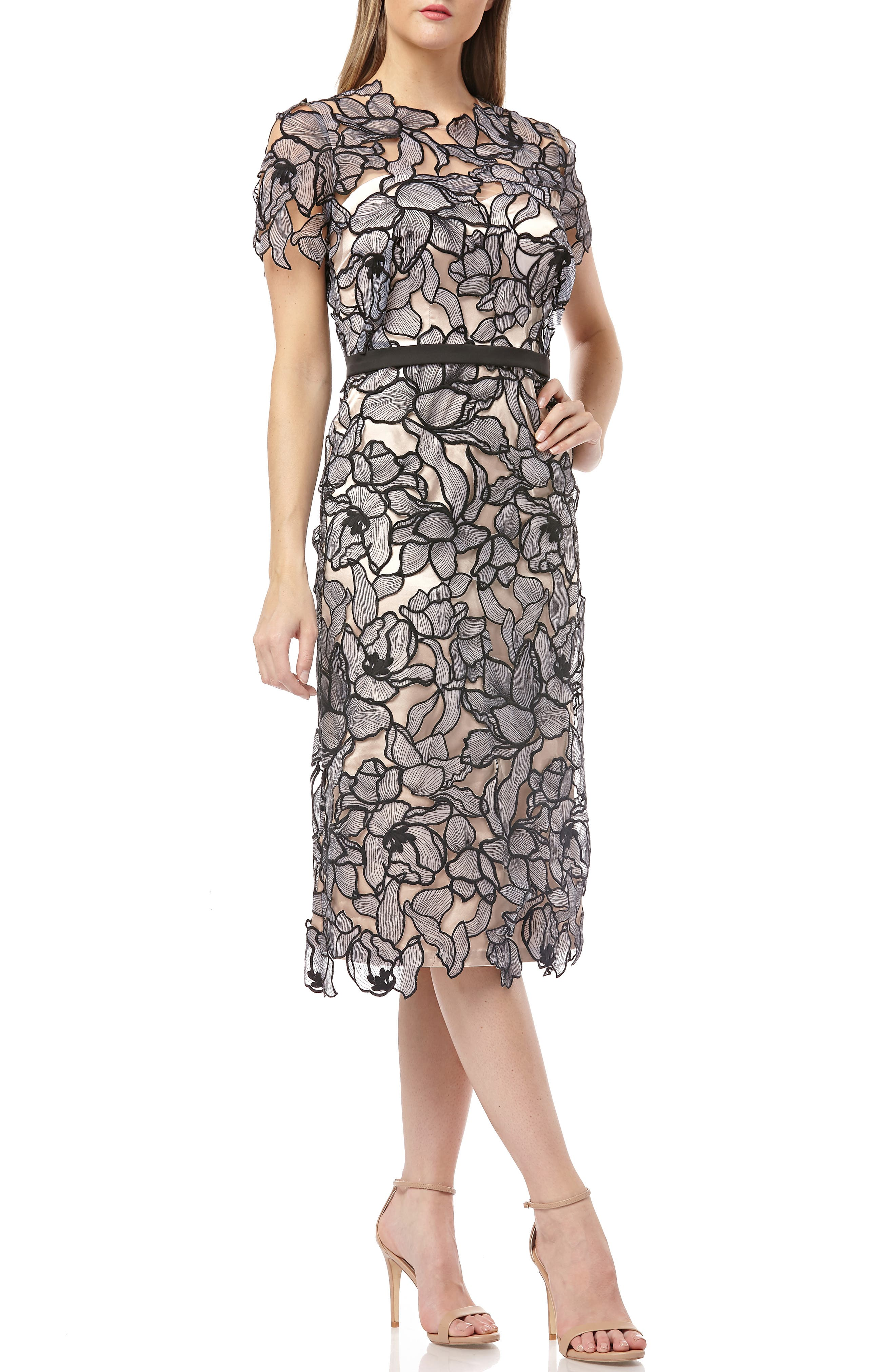 Js Collections Embroidered Lace Midi Dress, Black