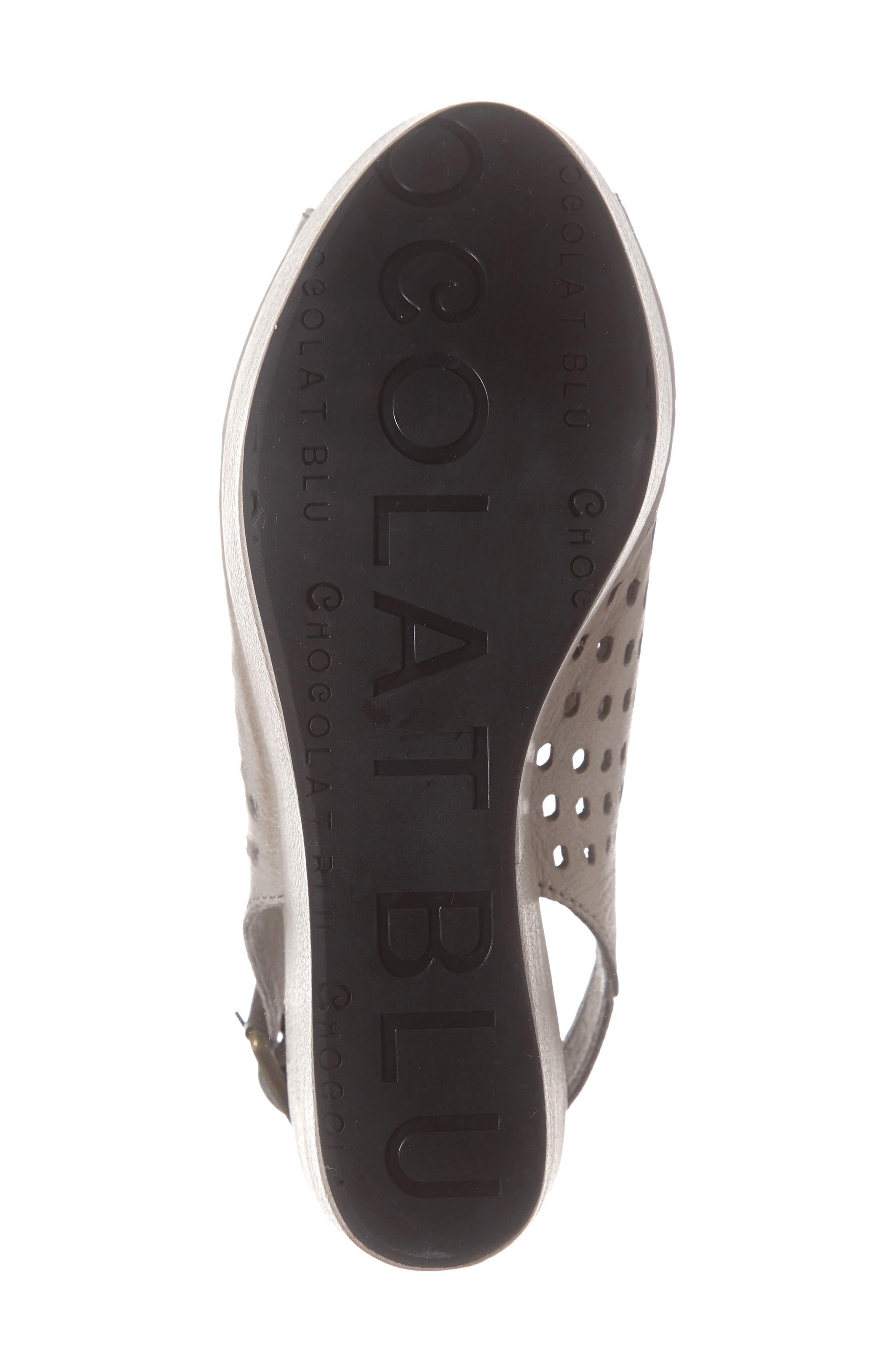 CHOCOLAT BLU, Wally Platform Wedge Sandal, Alternate thumbnail 6, color, GREY LEATHER