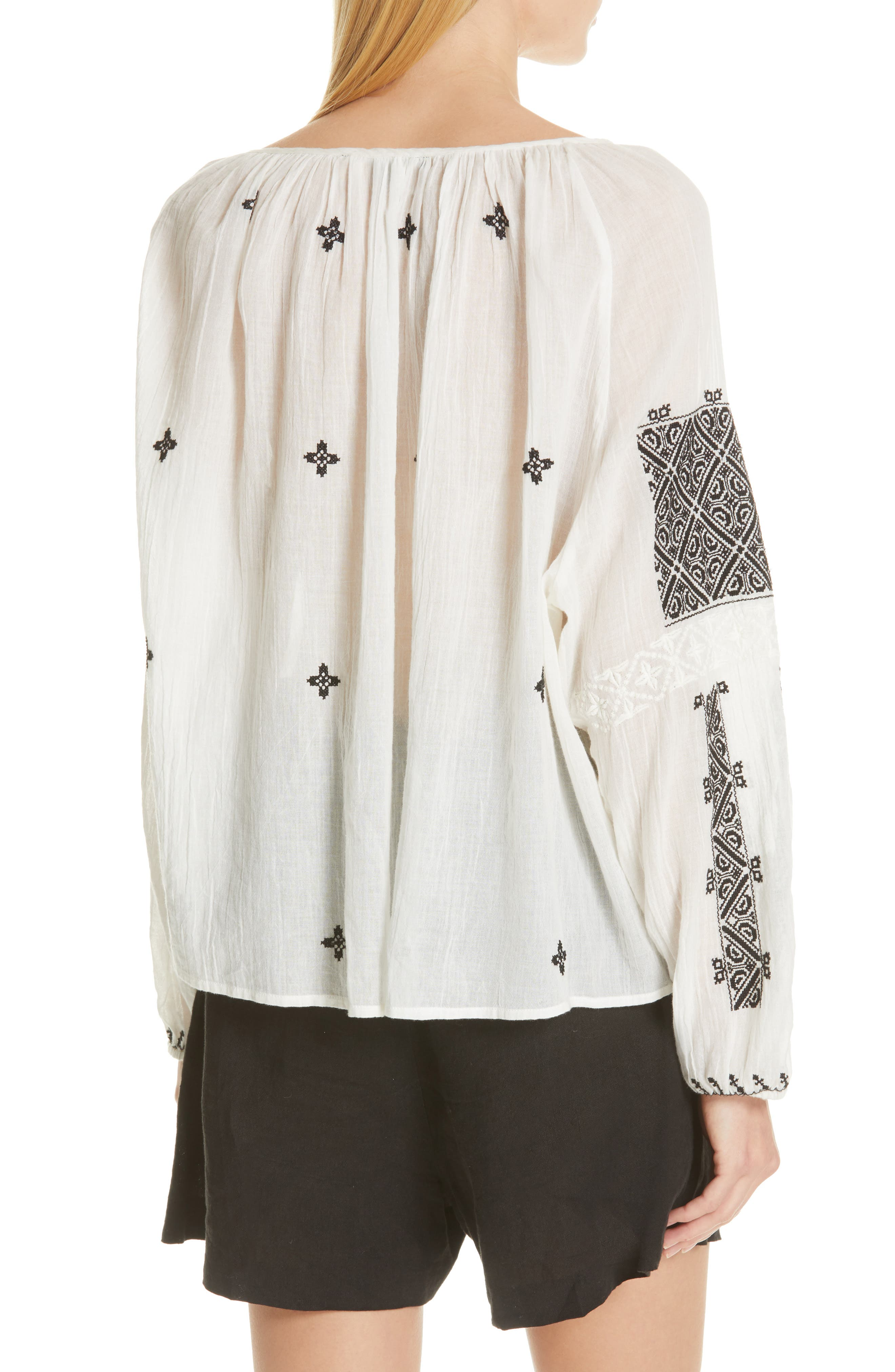 NILI LOTAN, Alassio Embroidered Blouse, Alternate thumbnail 2, color, IVORY WITH BLACK EMBROIDERY