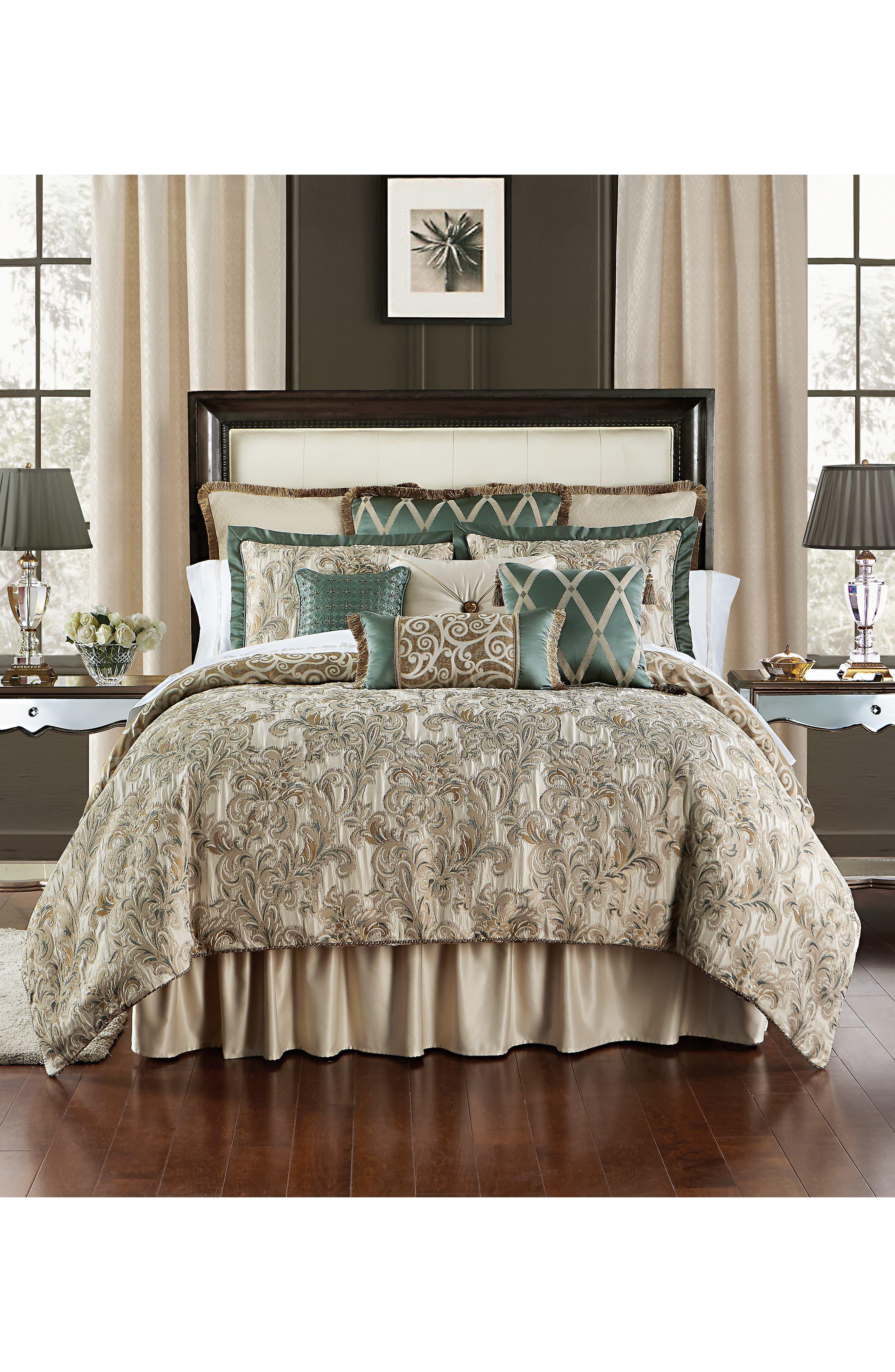 WATERFORD, Anora Comforter, Sham & Bed Skirt Set, Main thumbnail 1, color, BRASS/ JADE