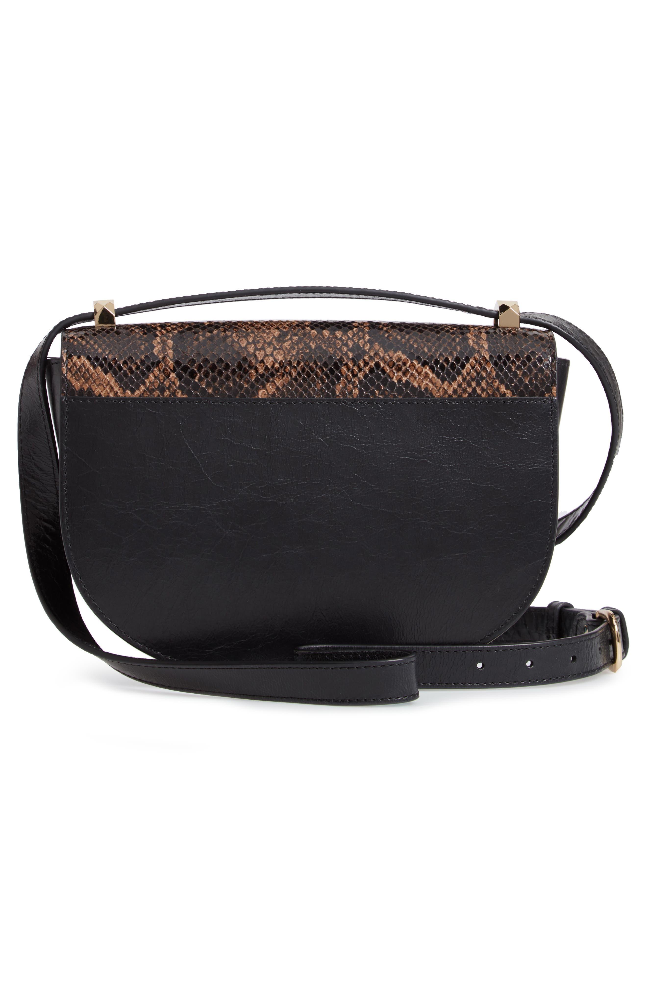 A.P.C., Sac Genève Snake Embossed Leather Shoulder Bag, Alternate thumbnail 4, color, NOIR