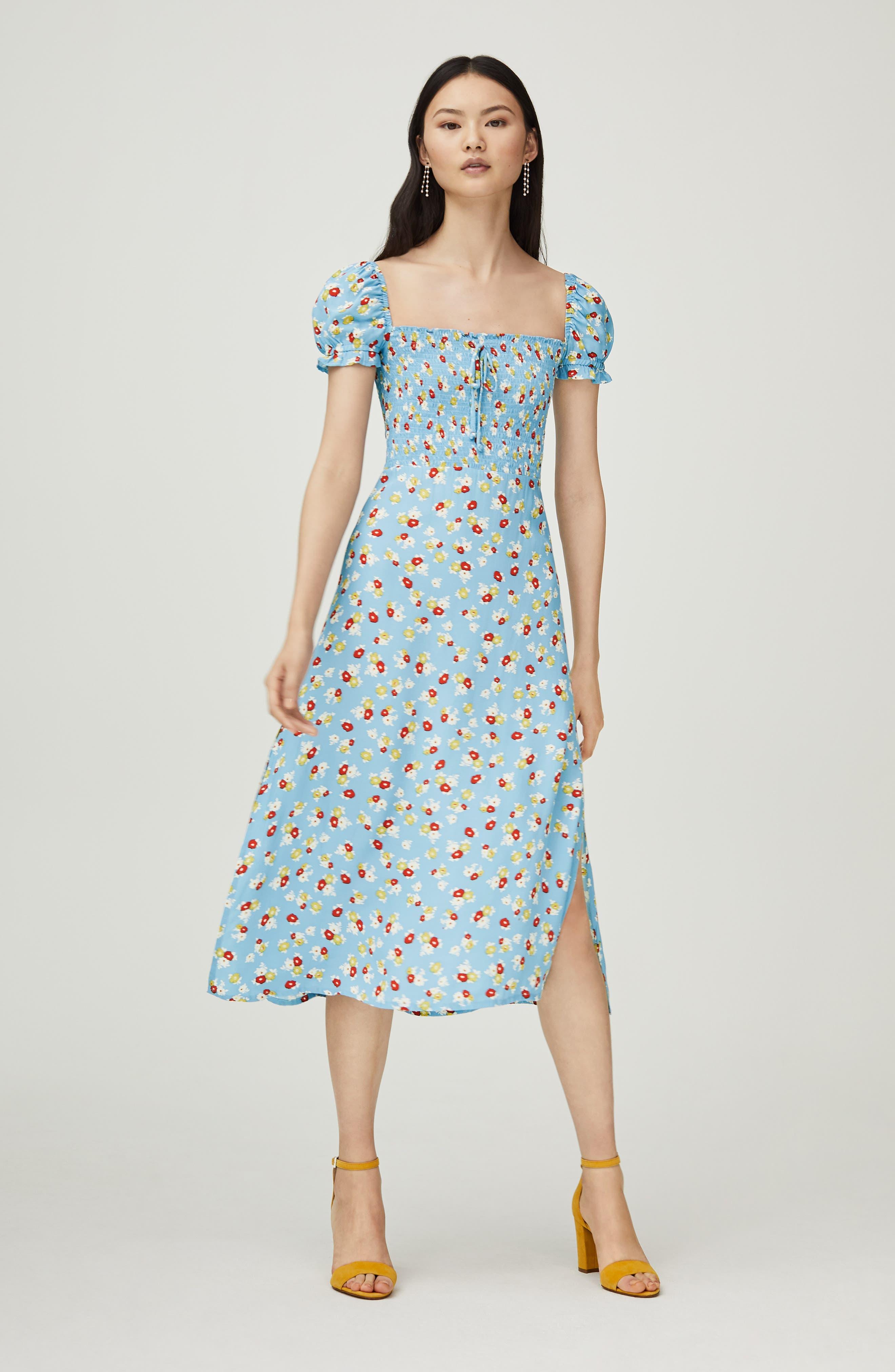 FAITHFULL THE BRAND, Castilo Jasmin Midi Dress, Alternate thumbnail 9, color, JASMIN FLORAL PRINT - BLUE