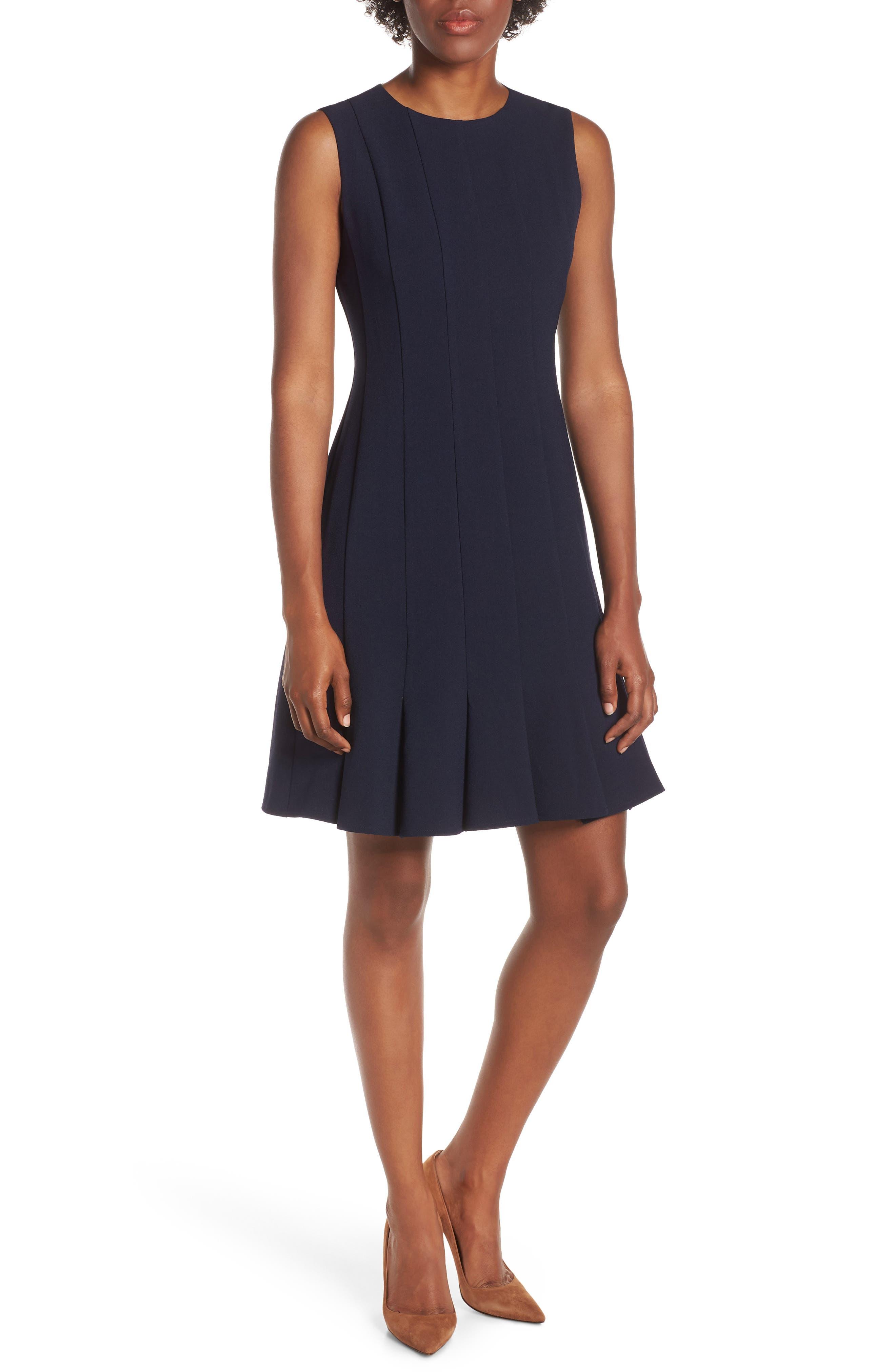 JULIA JORDAN Sleeveless Pleat Panel Fit & Flare Dress, Main, color, NAVY