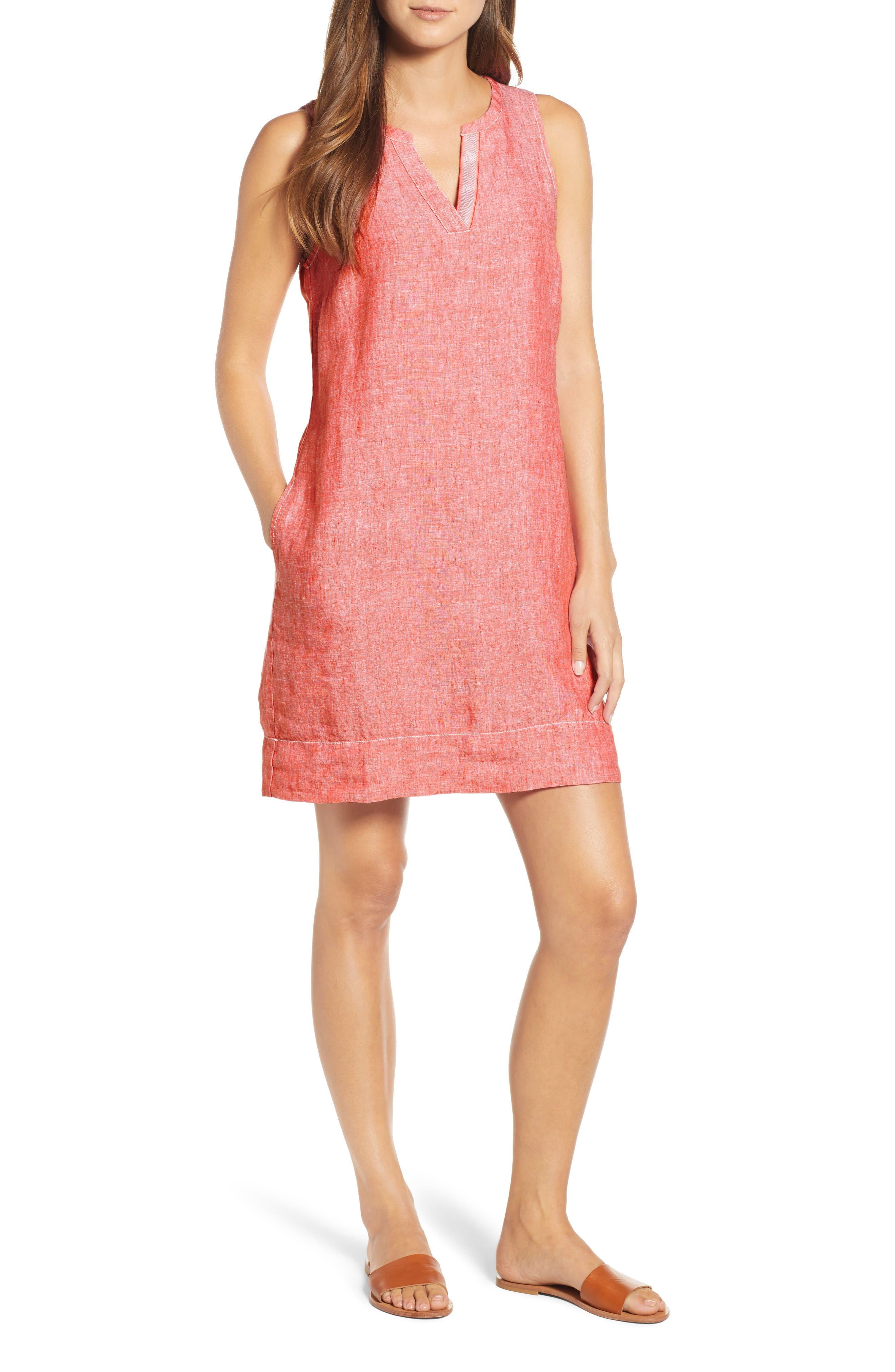 Tommy Bahama Sea Glass Linen Shift Dress, Orange