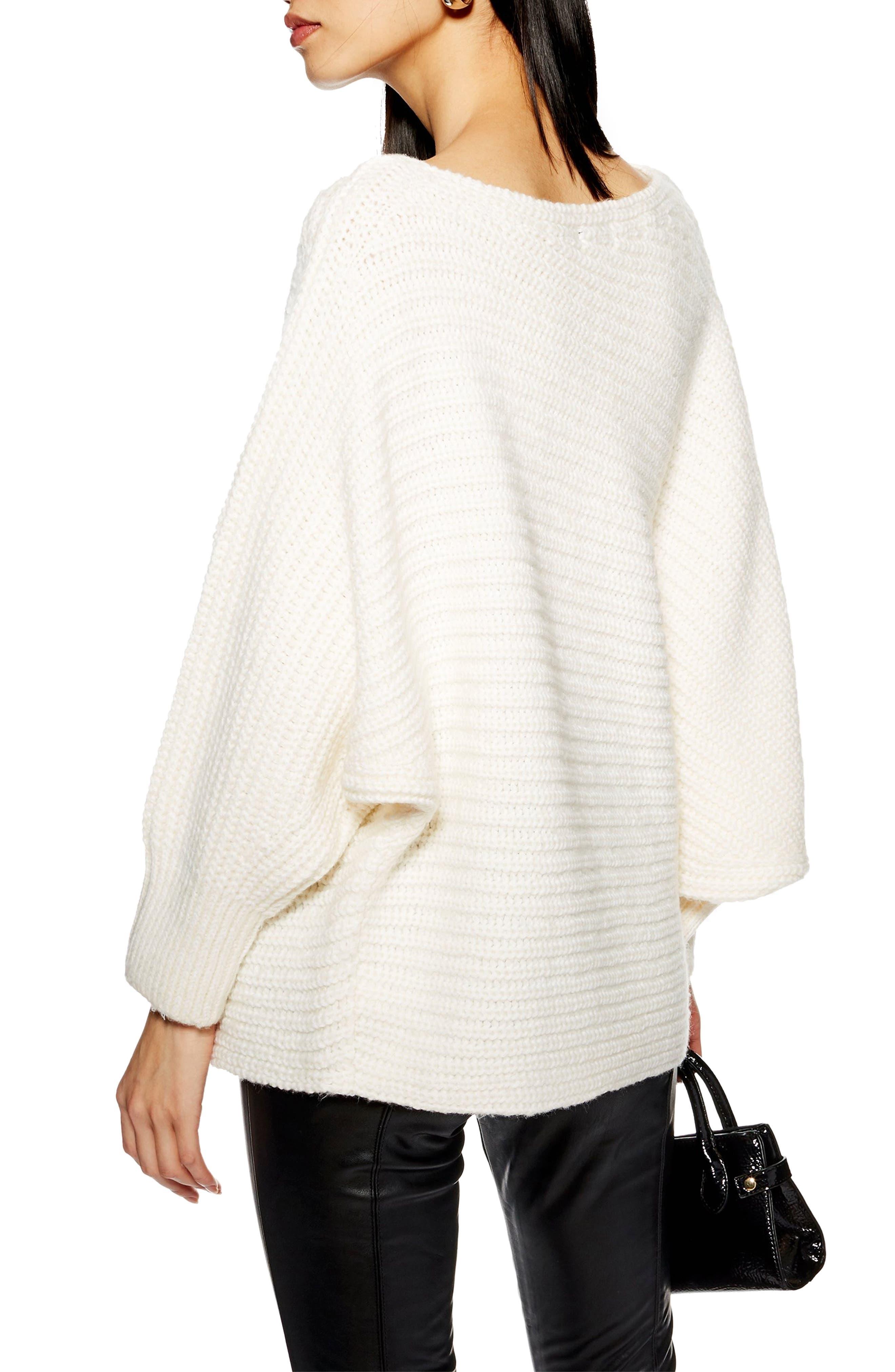 TOPSHOP, Drape Tunic Sweater, Alternate thumbnail 2, color, IVORY
