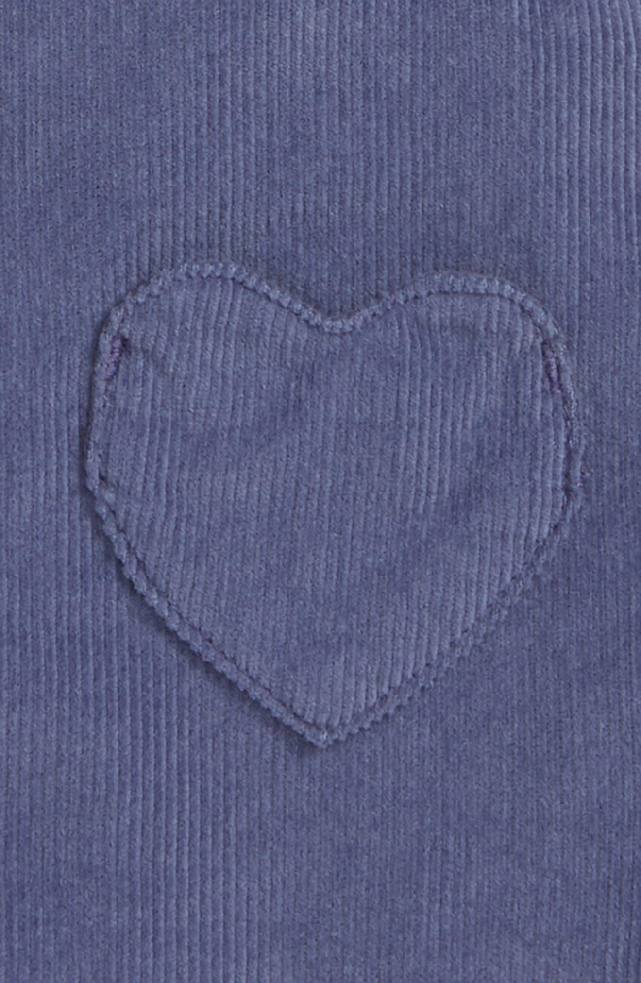 MINI BODEN, Patch Pocket Corduroy Dress, Alternate thumbnail 3, color, PRP VIOLET GREY