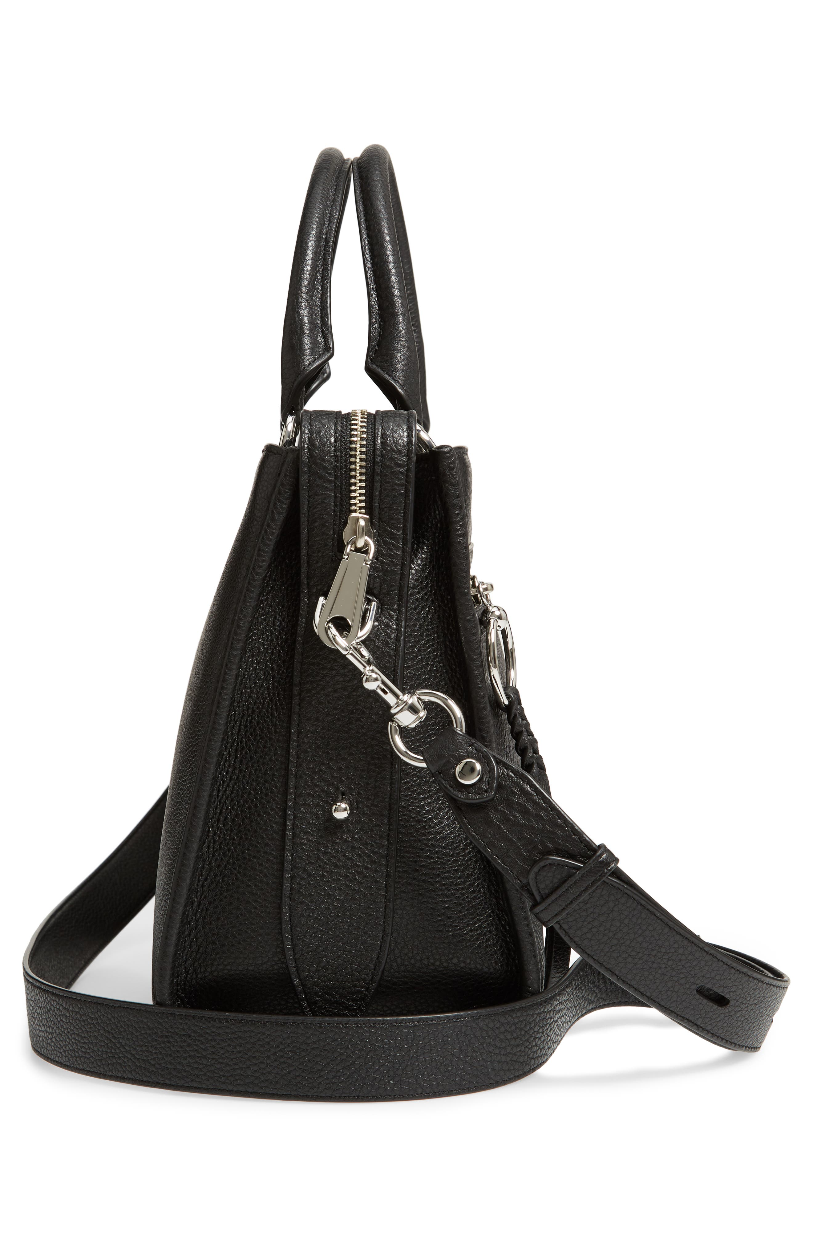 REBECCA MINKOFF, Bedford Zip Leather Satchel, Alternate thumbnail 6, color, BLACK