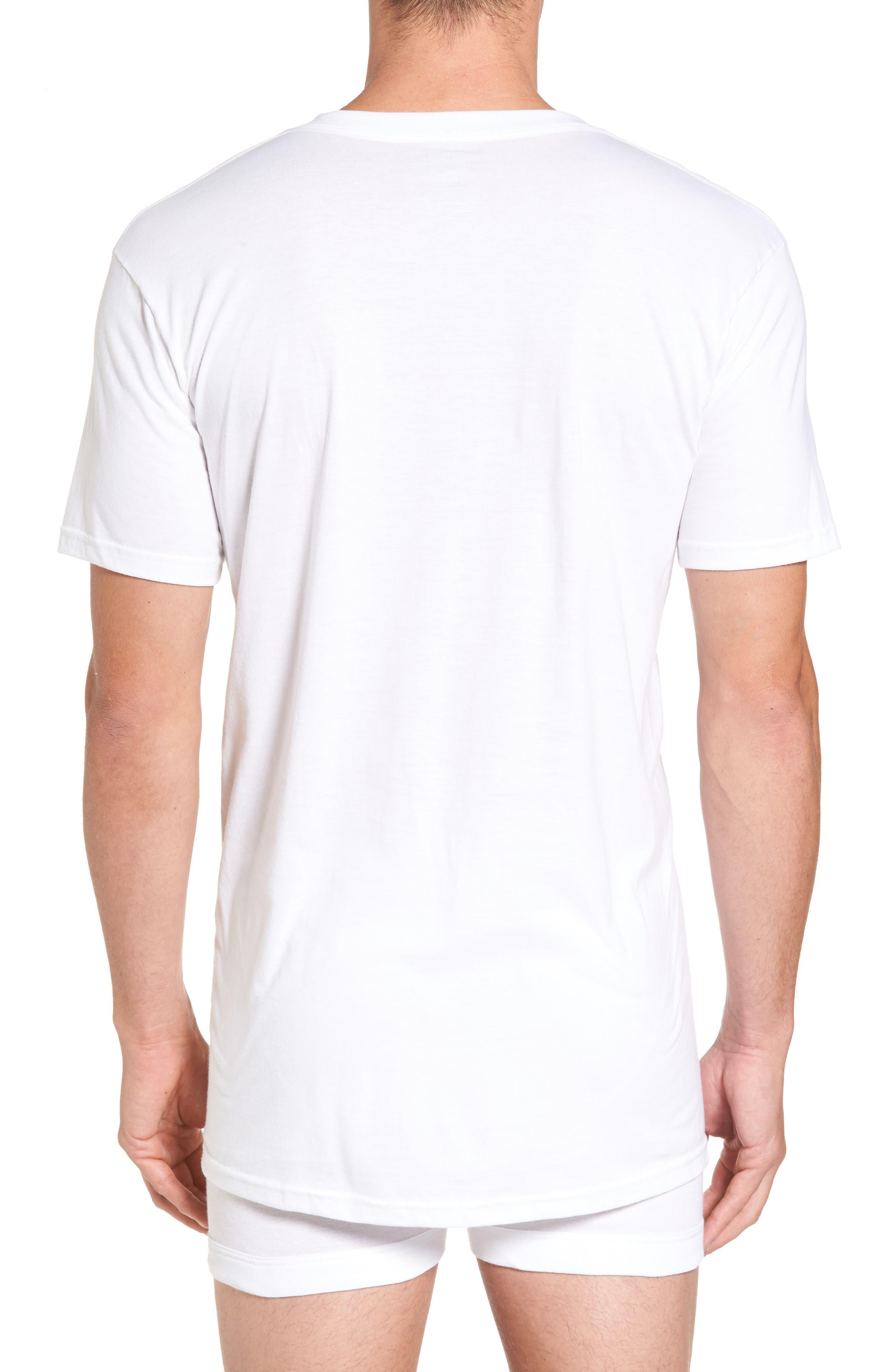 NORDSTROM MEN'S SHOP, 4-Pack Regular Fit Supima<sup>®</sup> Cotton V-Neck T-Shirts, Alternate thumbnail 2, color, WHITE