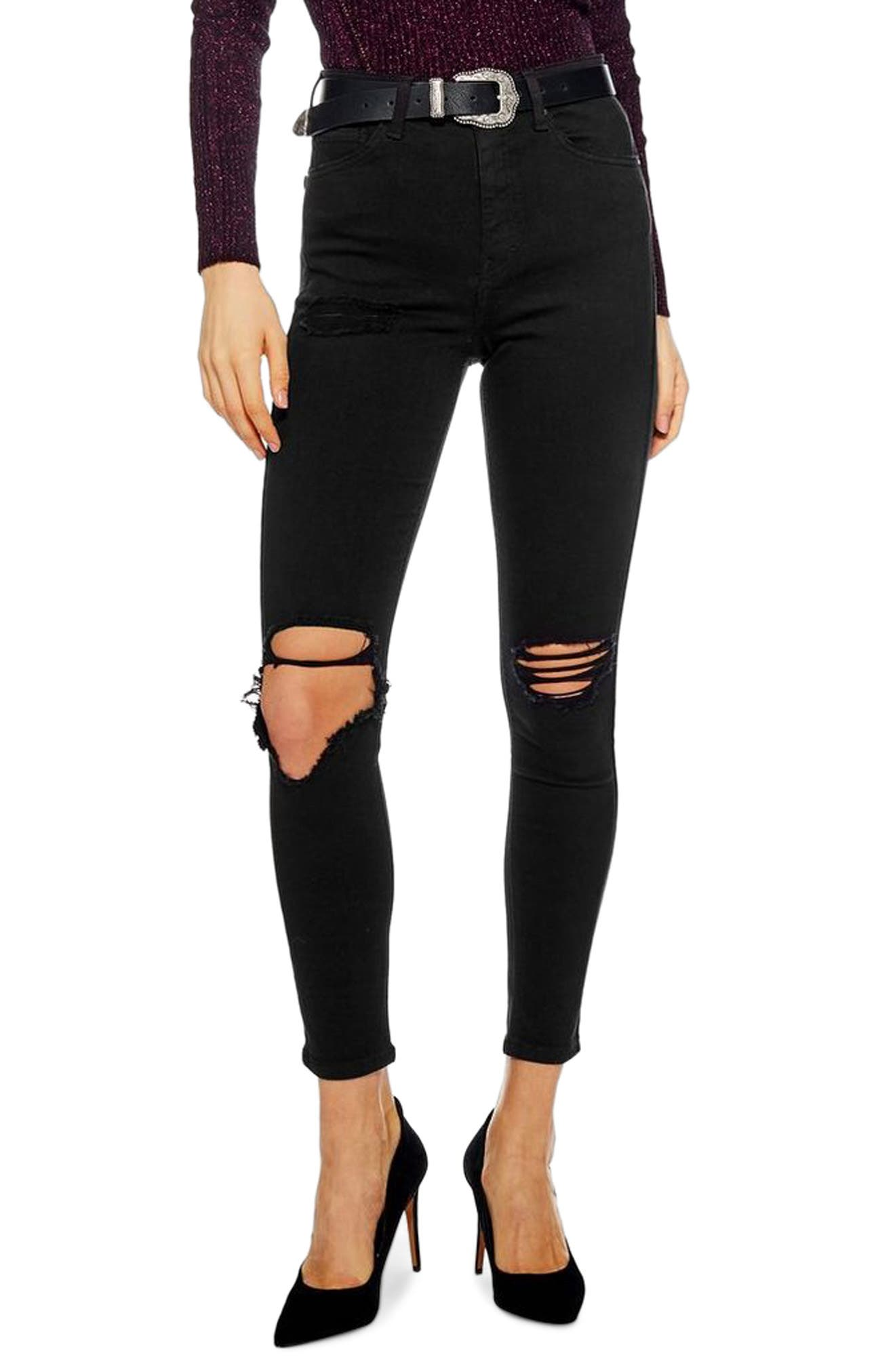 TOPSHOP Jamie Wing Rip Skinny Jeans, Main, color, 001
